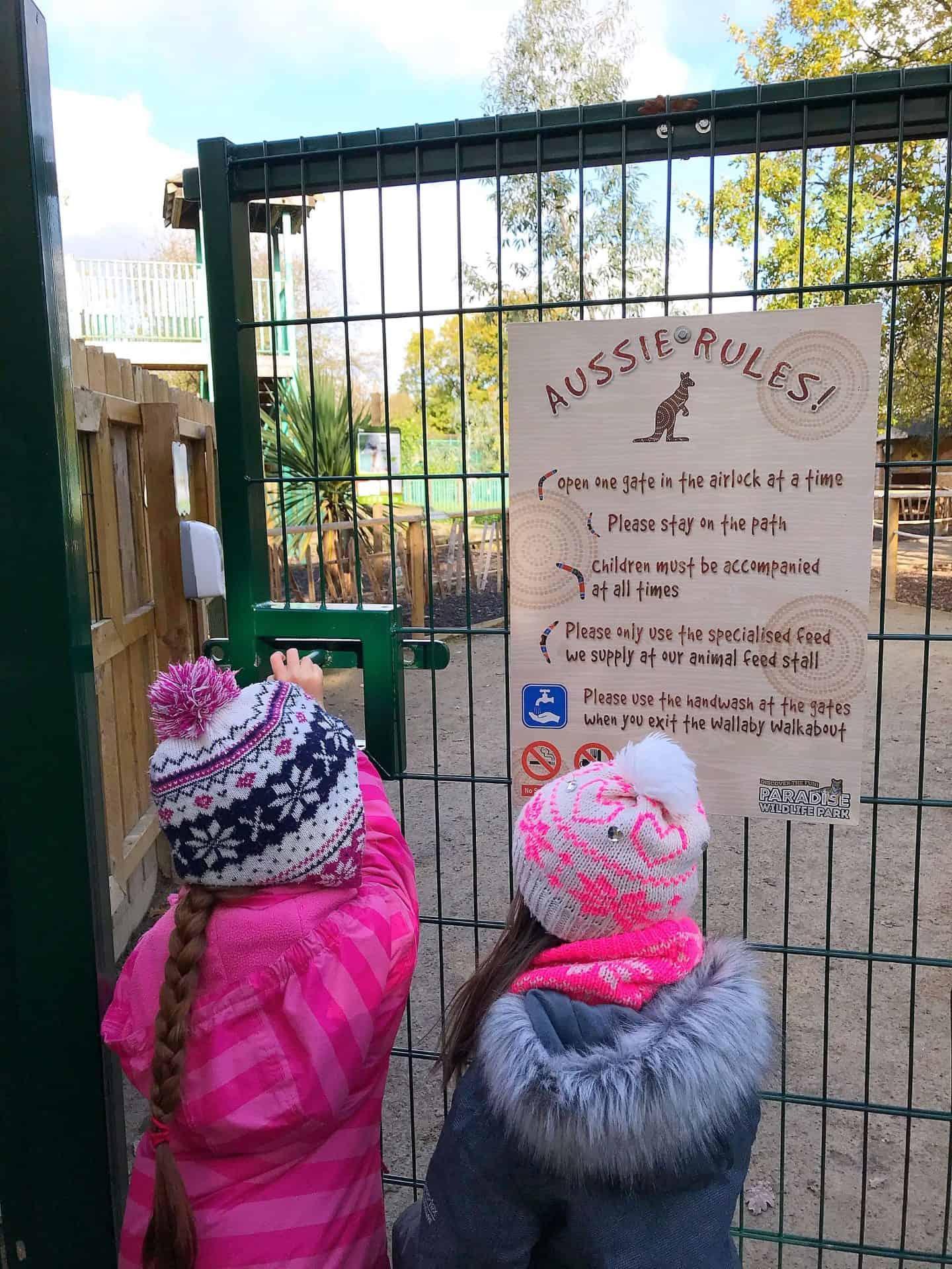 Opening the gate at Paradise Wildlife Park