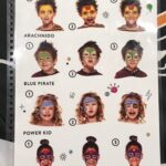 Snazaroo face painting menu