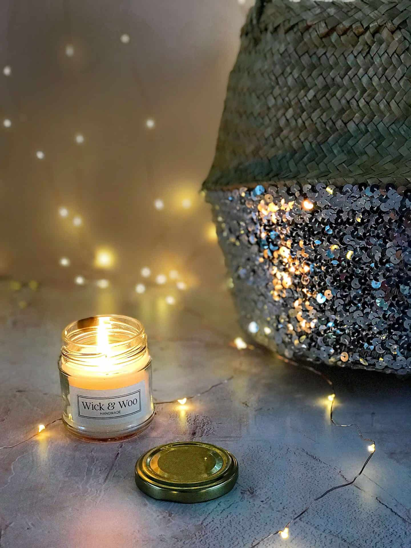 Wick & Woo candle and sequinned belly basket