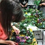 Making our contemporary Christmas wreaths