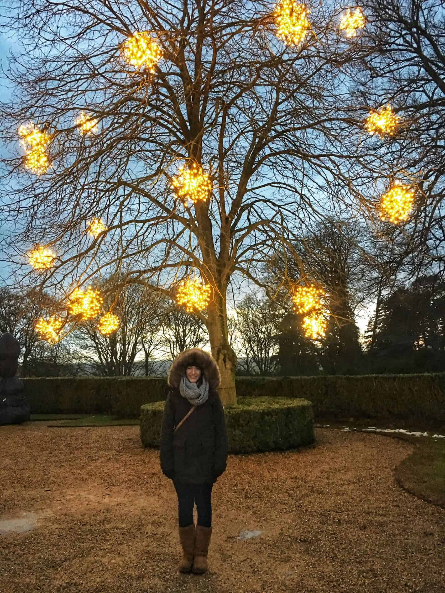 Standing outside Waddesdon Manor at Christmas
