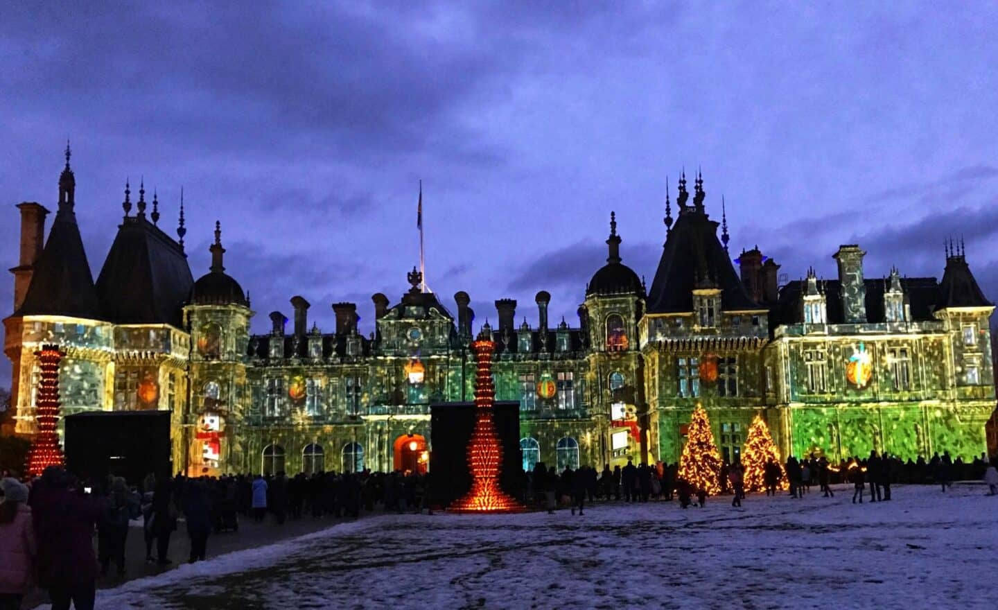 Waddesdon Manor with Christmas lights projected