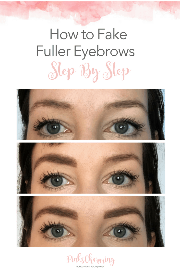 How to fake fuller eyebrows, with natural make-up, step by step,