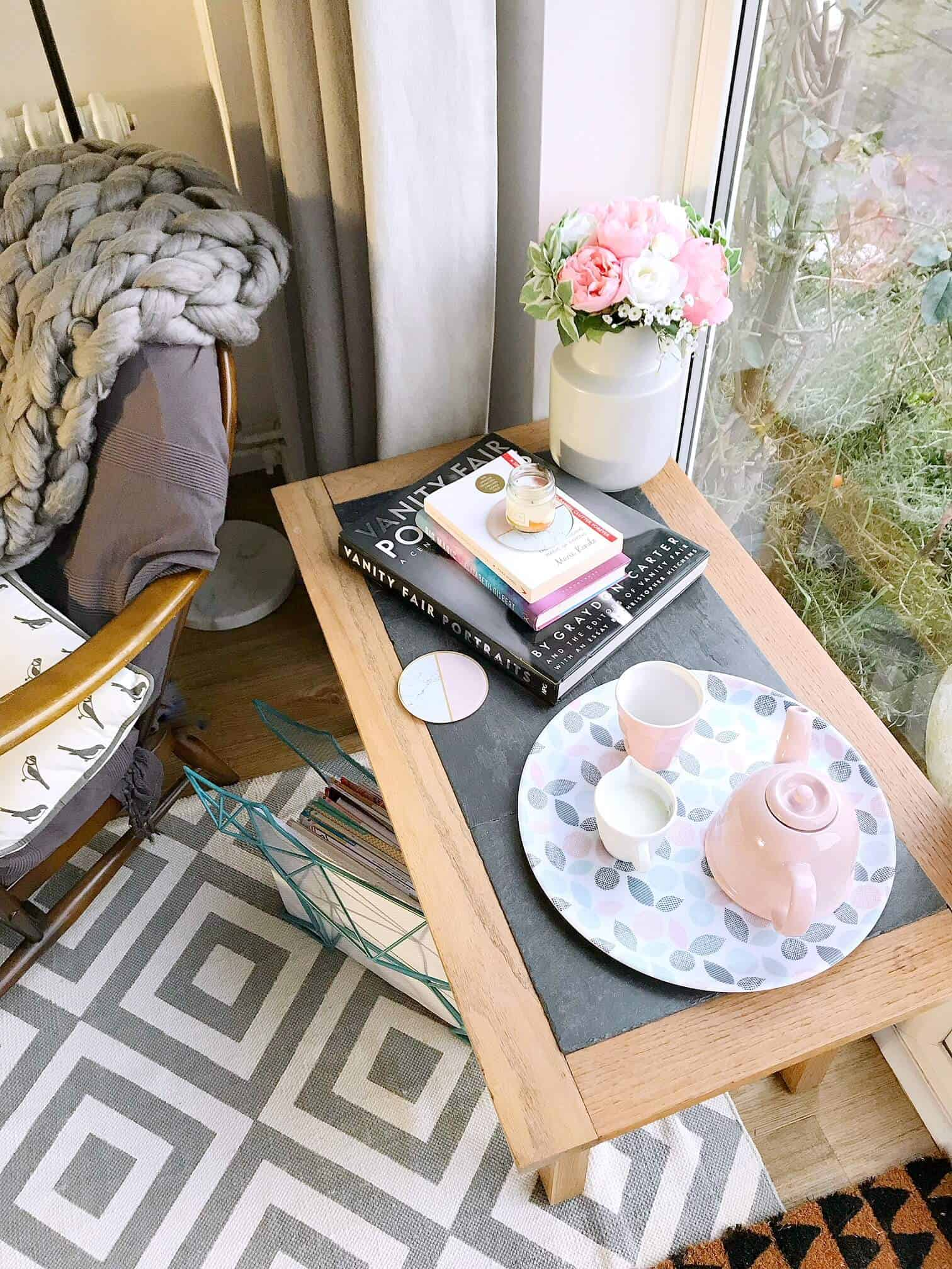 Table next to our cosy reading nook