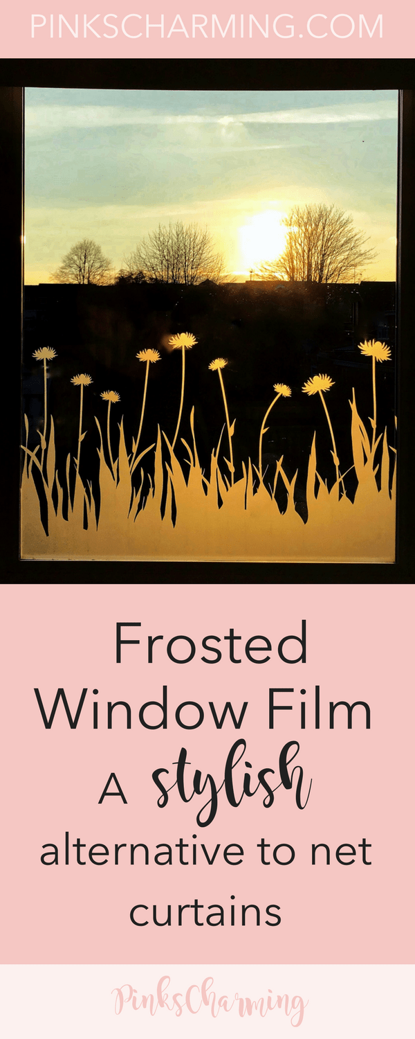 Sunset through a window that has a grass and cornflower frosted window film. Text reads 'Frosted window film: a stylish alternative to net curtains'