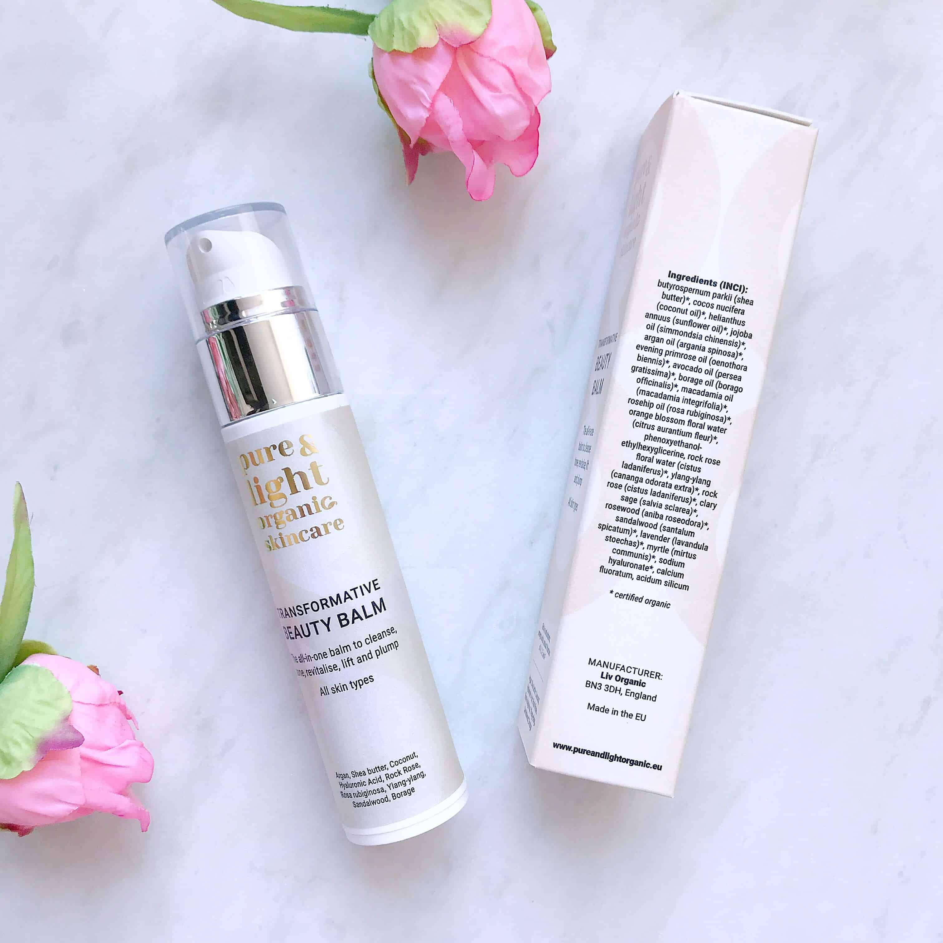 Pure & Light Organic Skincare Transformative Beauty Balm ingredients