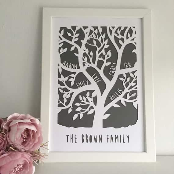 lovefromAngie Personalised Family Tree Paper Cut makes a unique Mother's Day Gift Idea