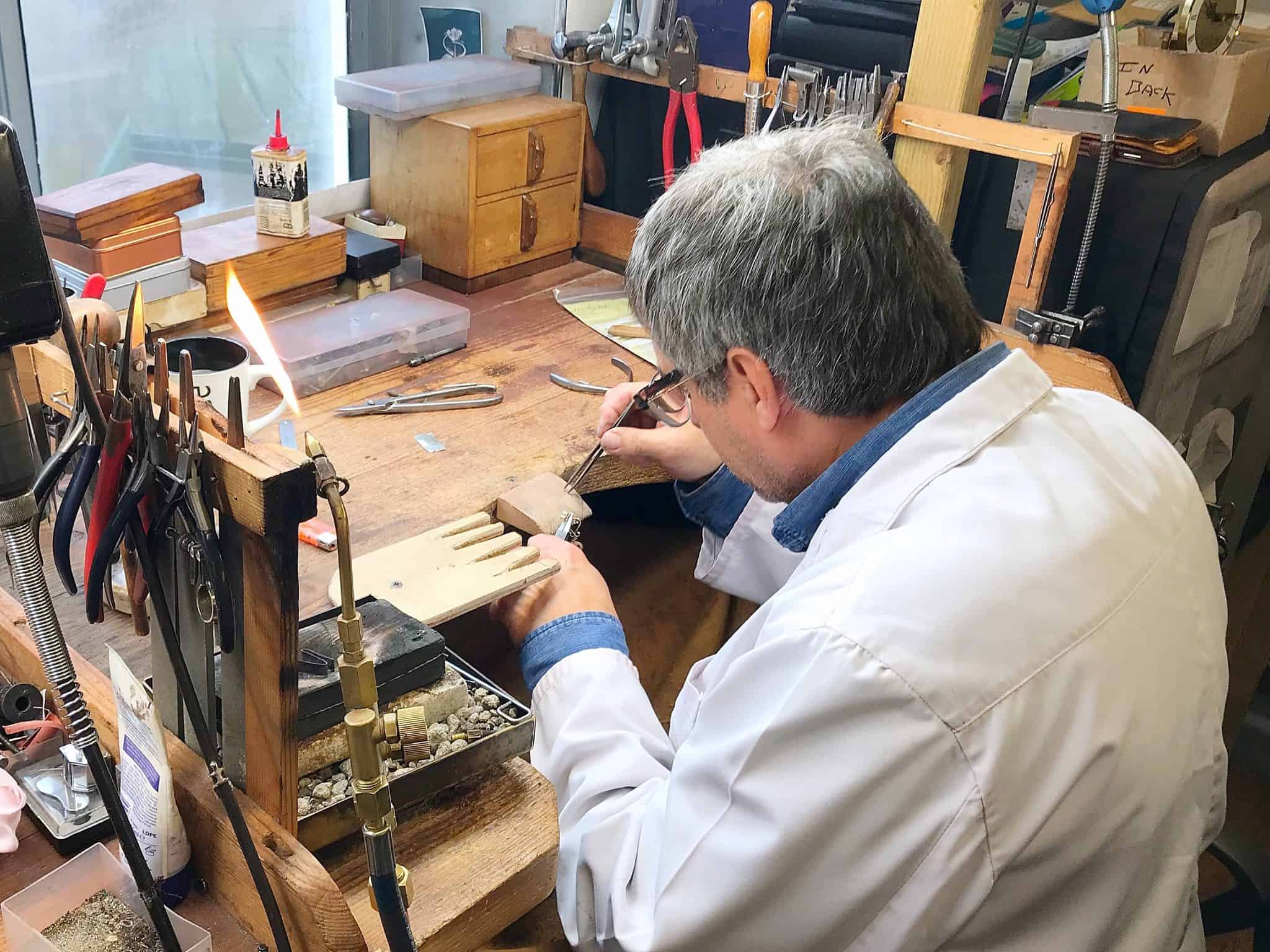 Glen making jewellery at The Goldsmithy Goldsmiths