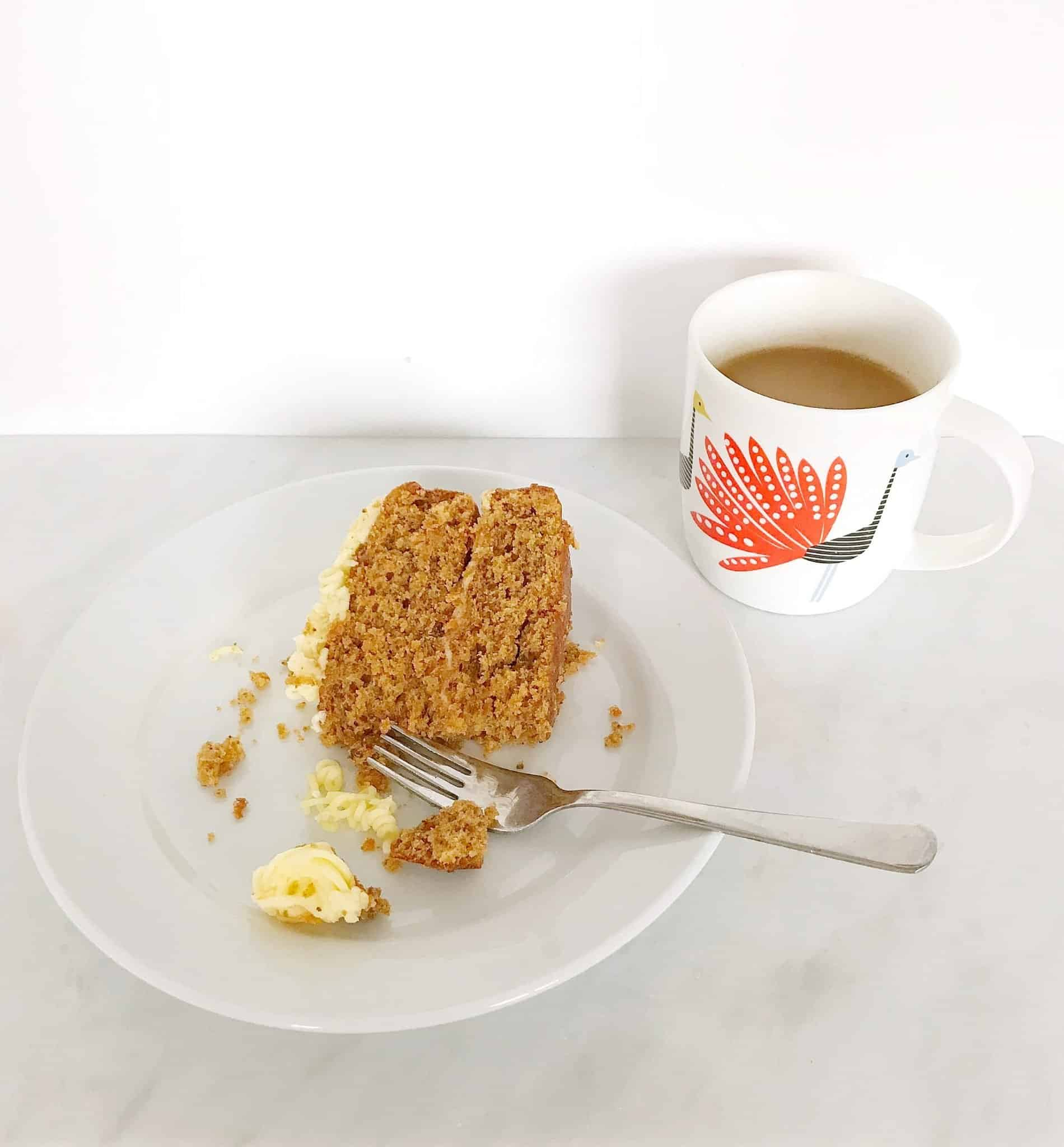Home made carrot cake with tea