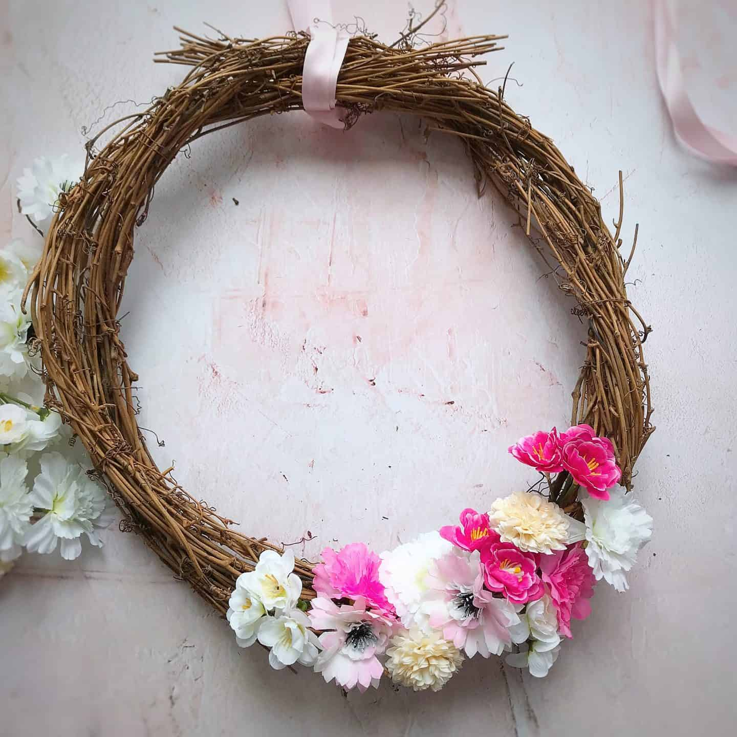 How to make an easy spring wreath in minutes using fake flowers
