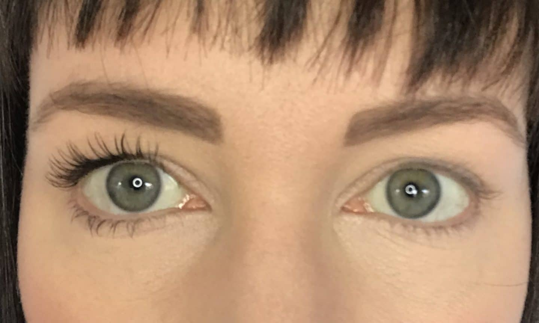 Inika Long Lash Mascara - one coat on one set of eyelashes compared to bare lashes