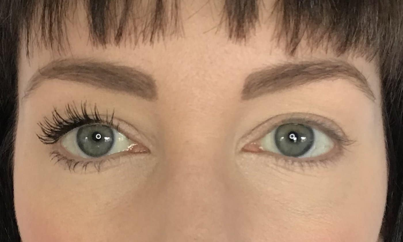 Inika Long Lash Mascara - two coats on one eye comparred to bare lashes