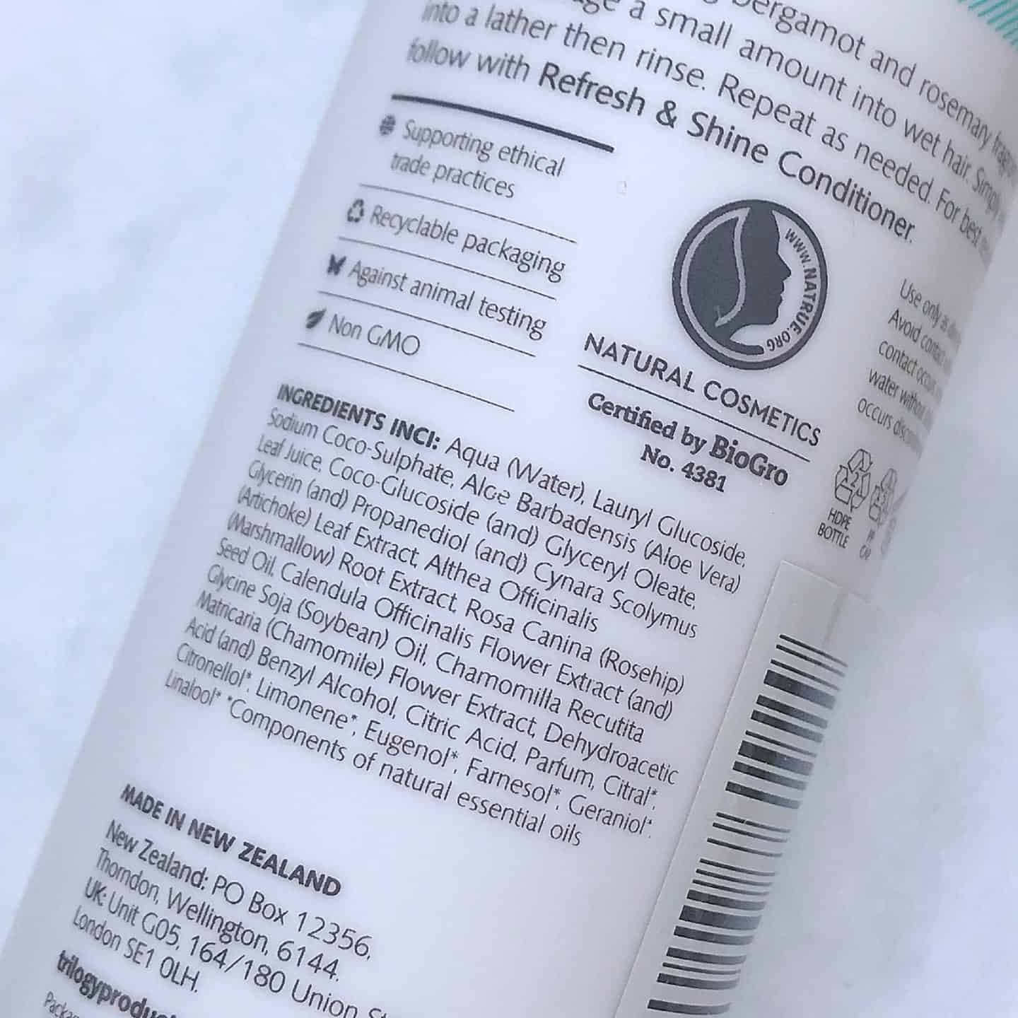 Trilogy Refresh and Shine Shampoo Review