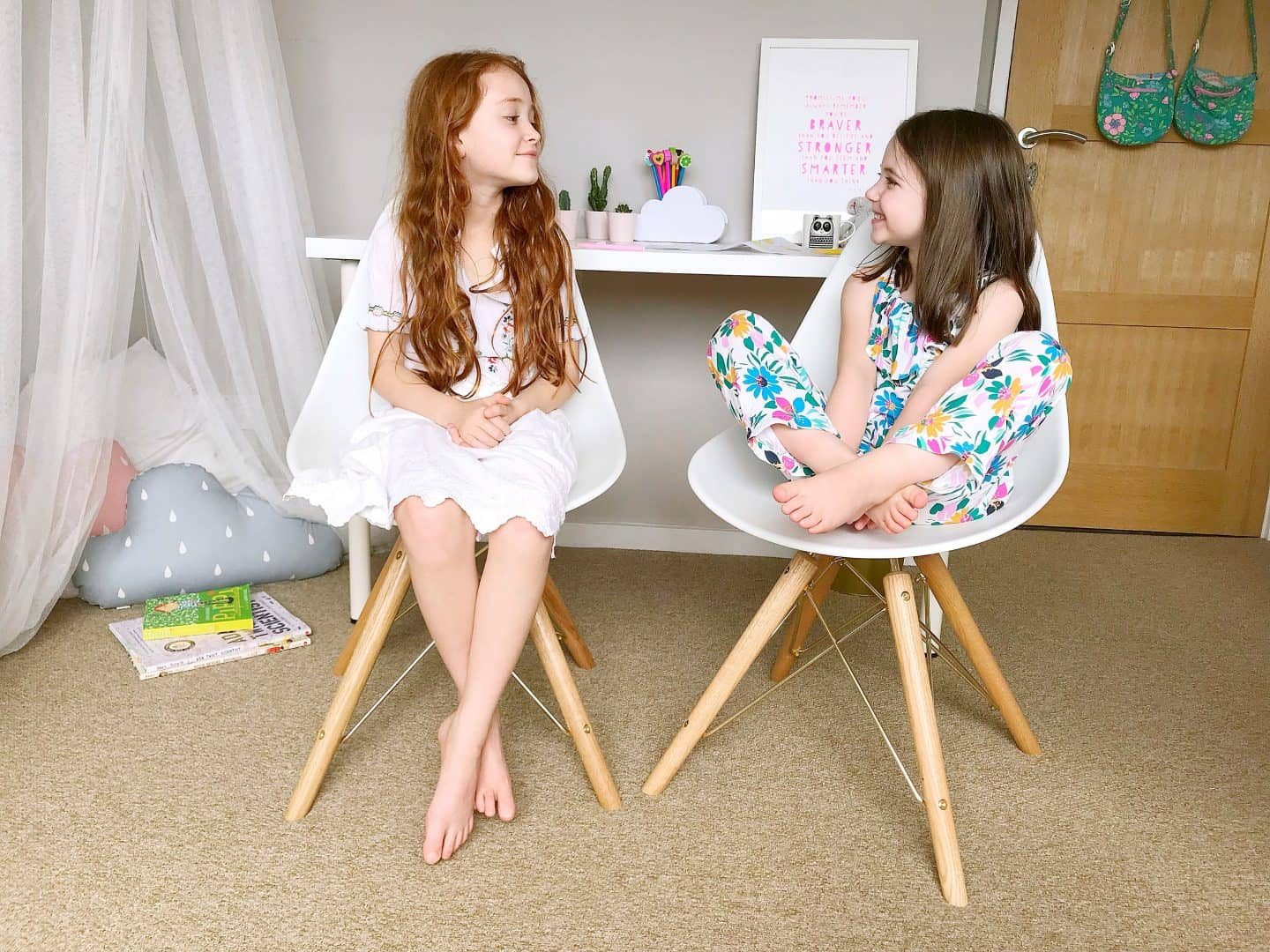 Cult Furniture Moda Dining Chairs with a white desk - the perfect chairs for kids to grow in to