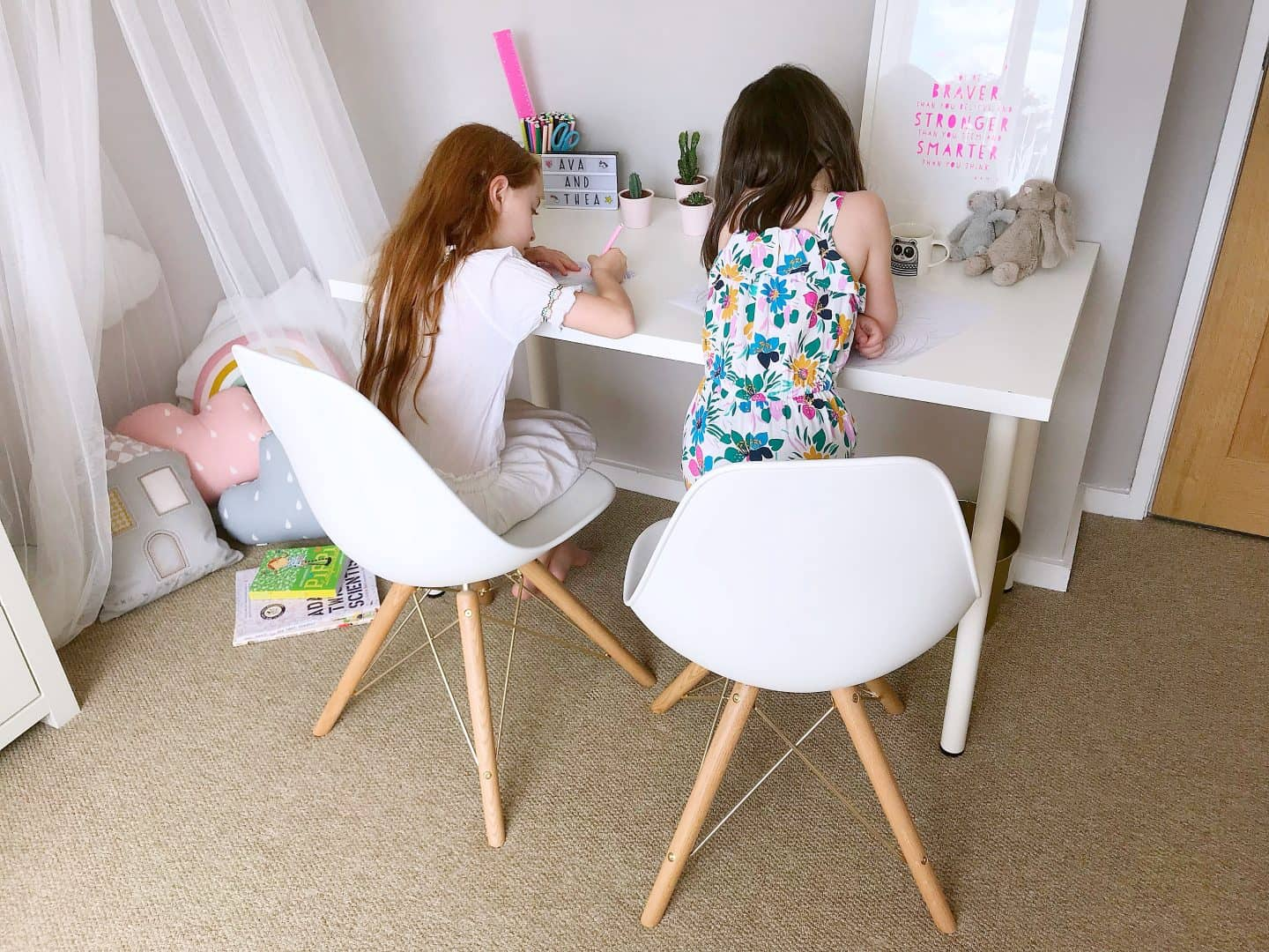 Getting creative with the help of White and gold Cult Furniture Moda Chairs - the perfect chairs for kids to grow up with