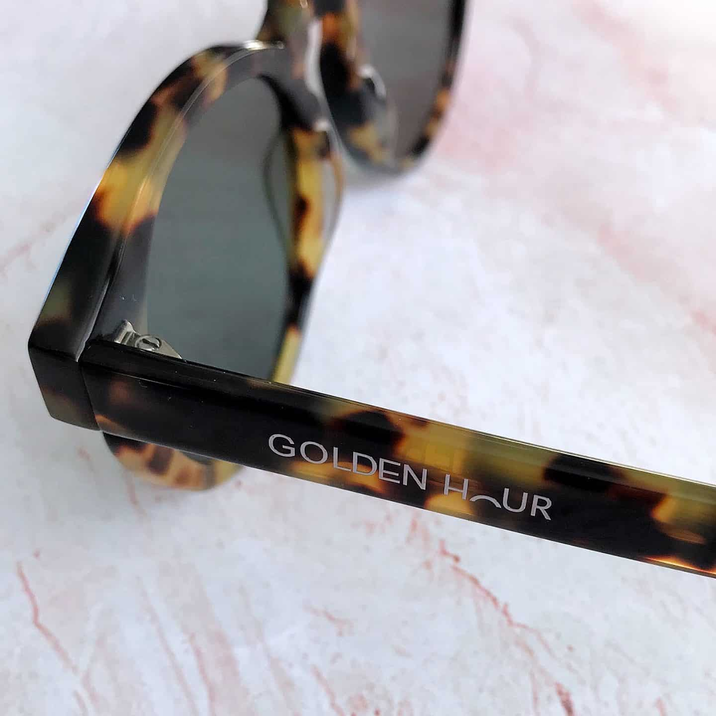Golden Hour Anjuna Bay Coral Tortoiseshell luxury polarised sunglasses arm up close