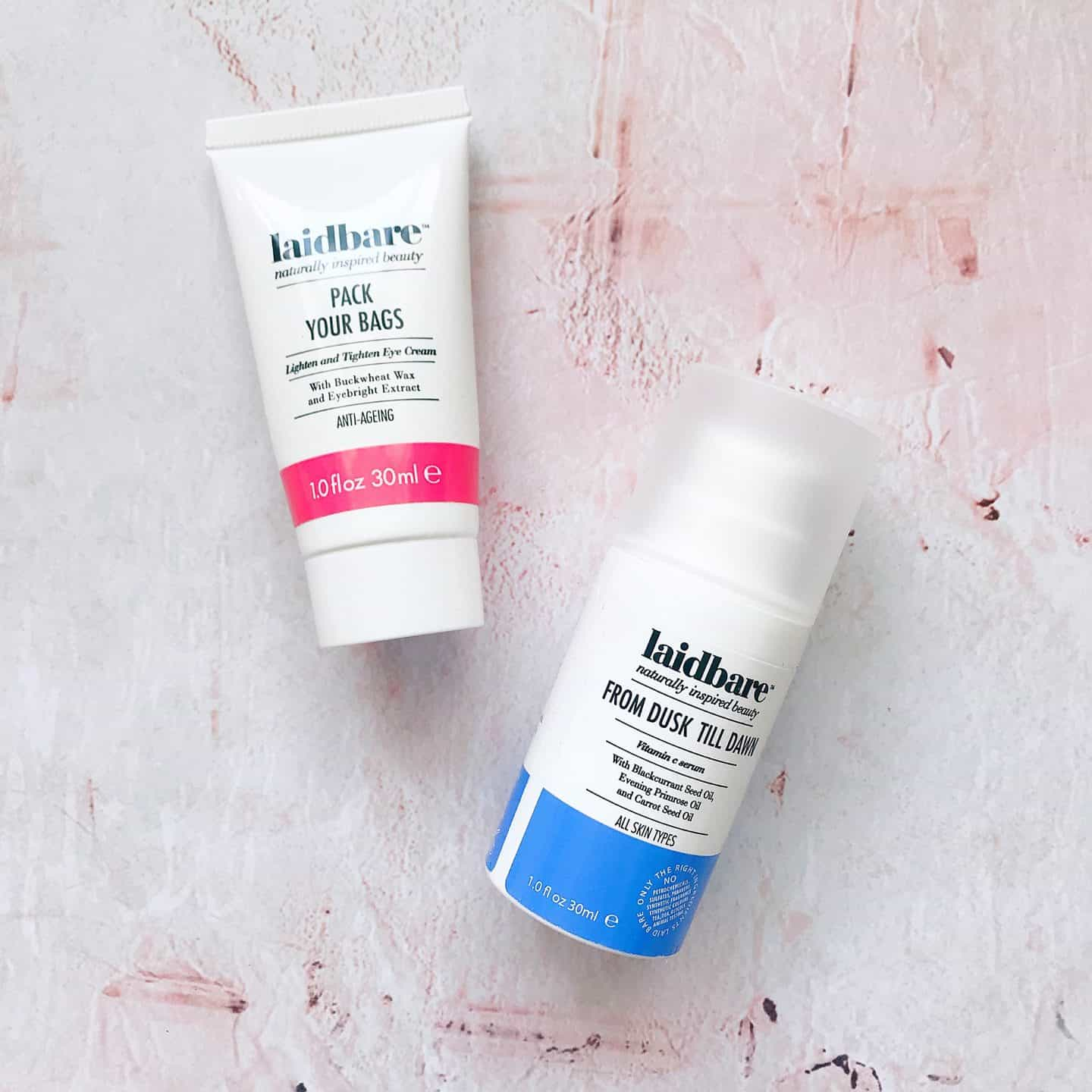 Laidbare clean skincare Pack Your Bags and From Dusk Till Dawn review