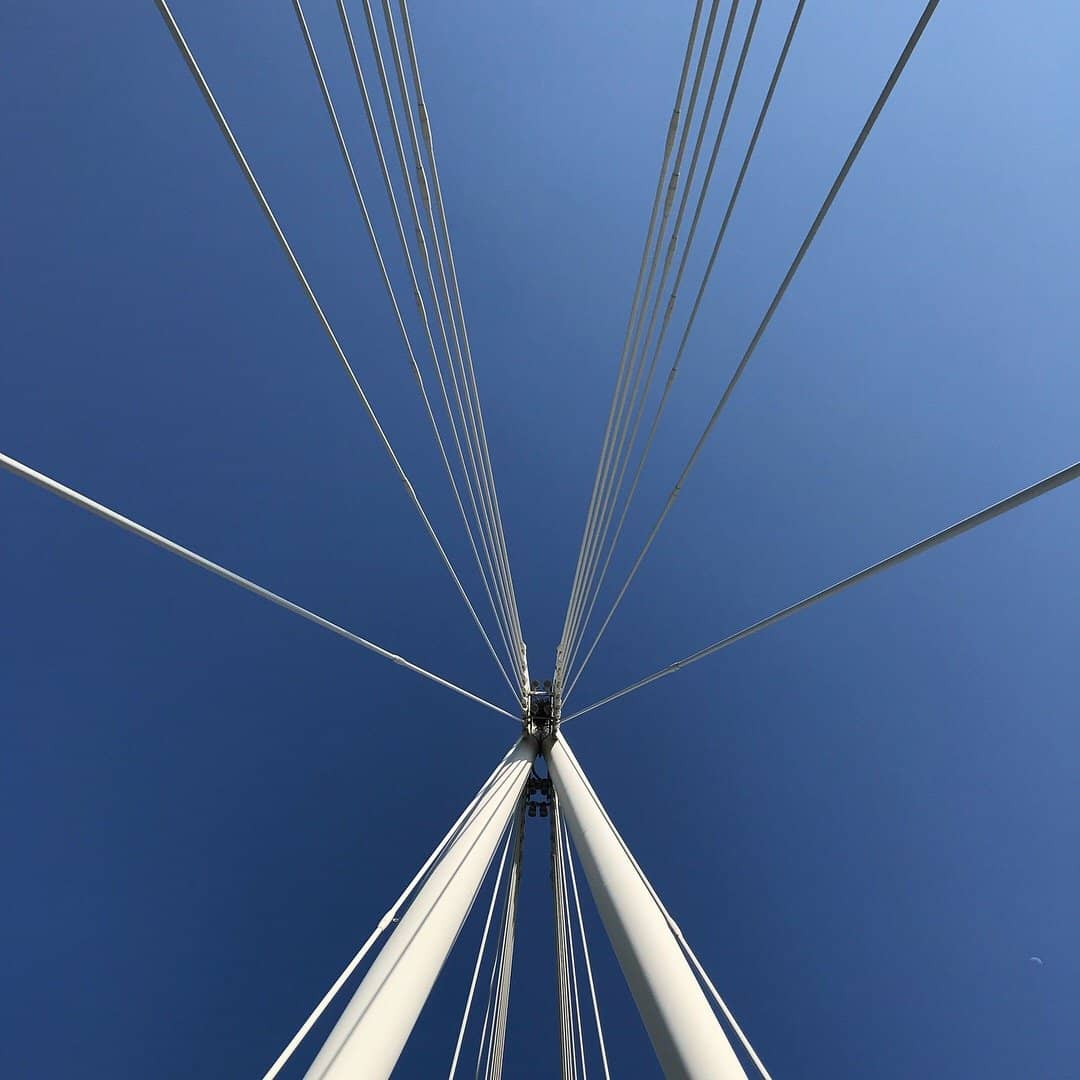 Look up from the Jubilee Bridge in London