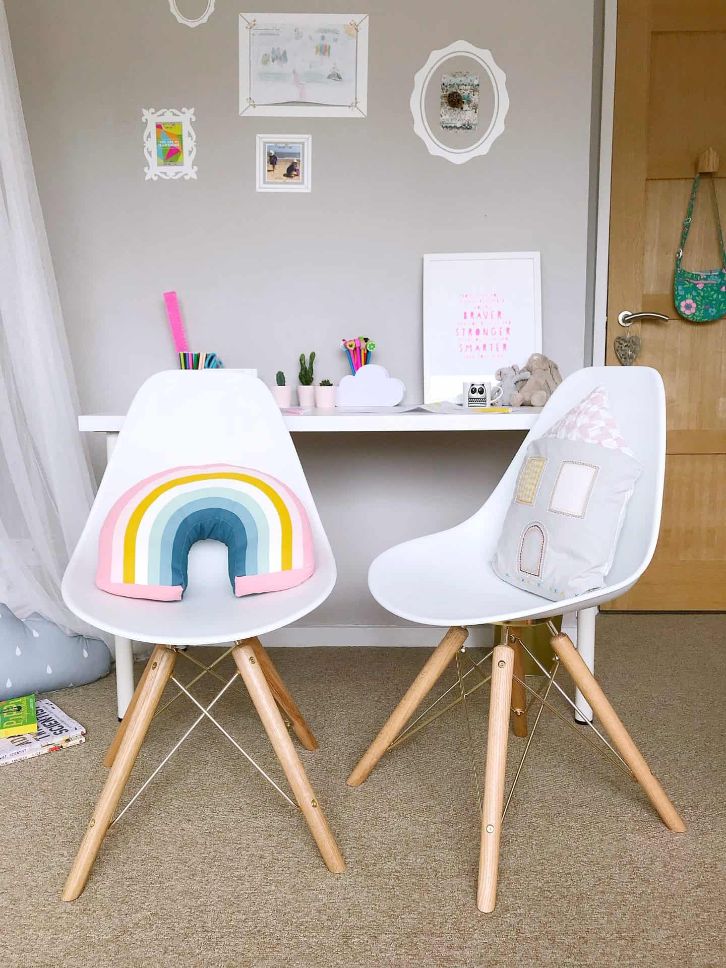 White and gold Cult Furniture Moda Dining Chairs with cushions - the perfect chairs for kids to grow up with