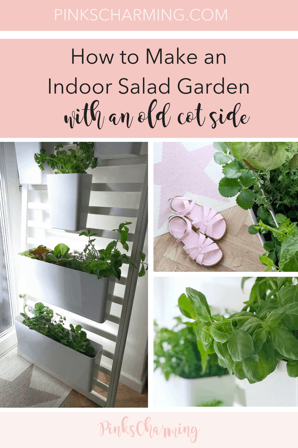 How to Make an Indoor Salad Garden with an Old Cot Side - quick, easy DIY with no tools needed