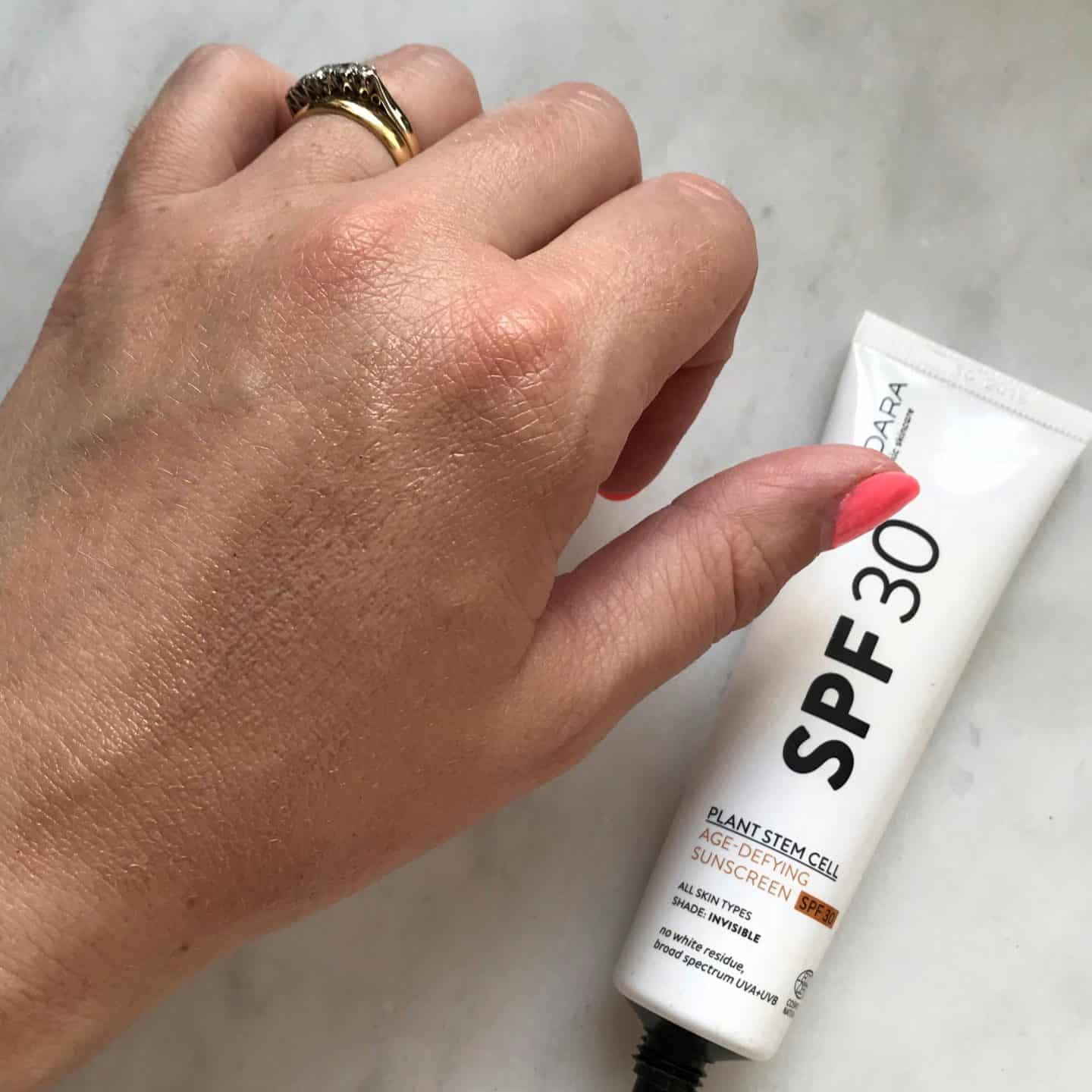 Madara SPF30 Plant Stem Cell Age-Defying Sunscreen smoothed in