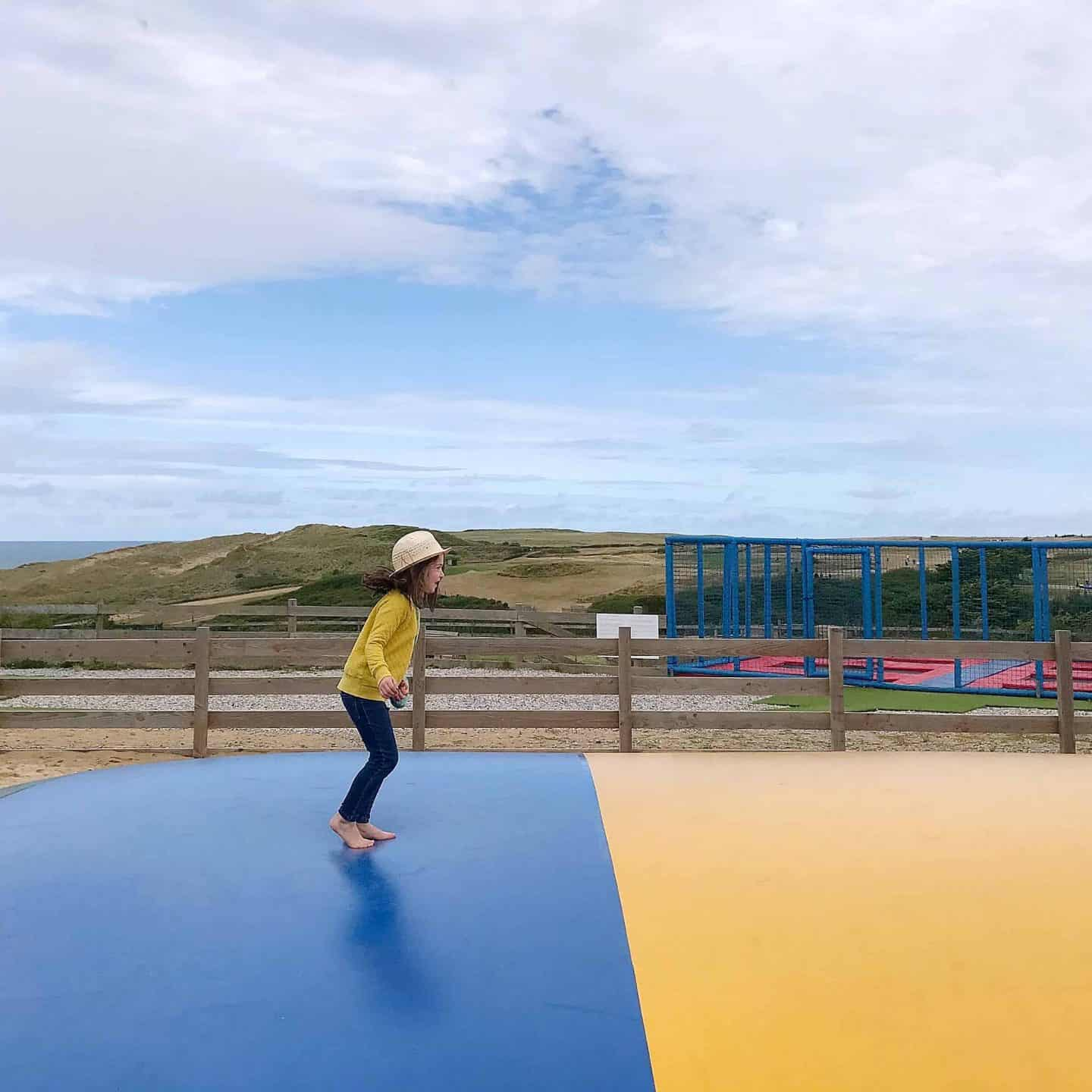 Bouncing at Holywell Bay Fun Park, Cornwall
