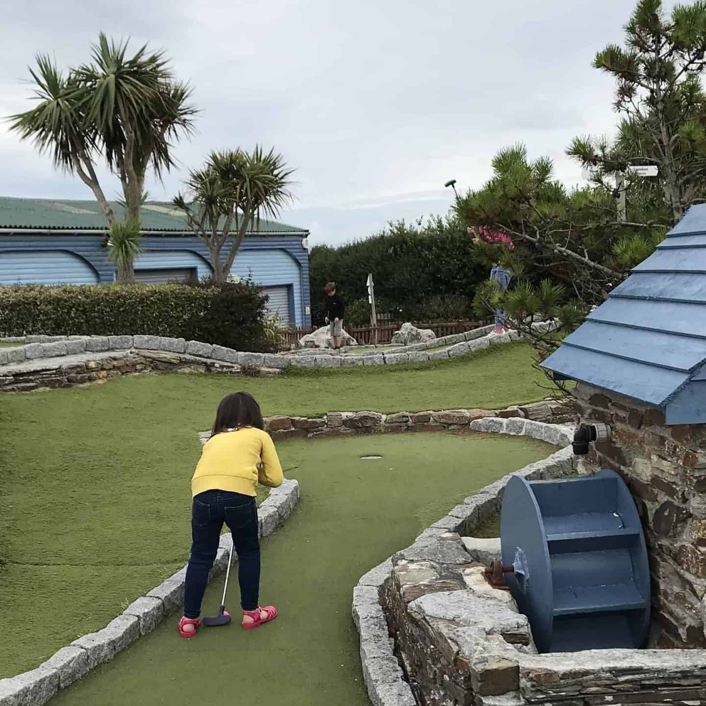 Crazy golf at Holywell Bay Fun Park, Cornwall