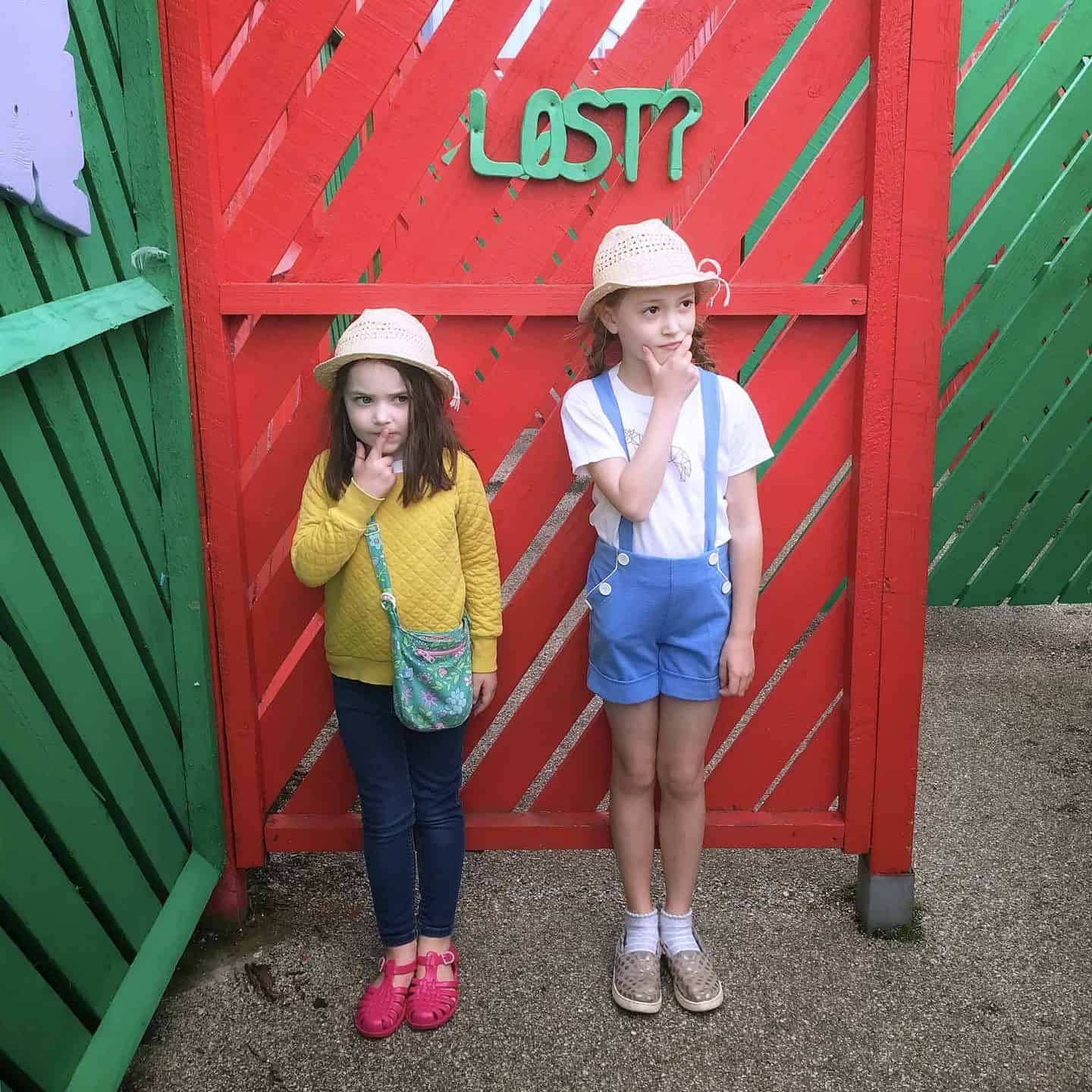 Lost in the maze at Holywell Bay Fun Park, Cornwall