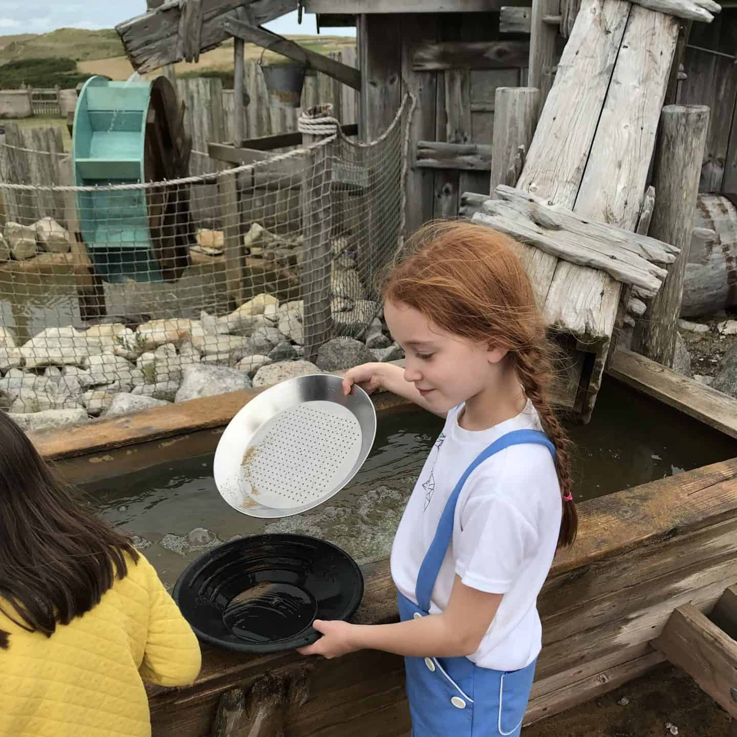 Panning for gold at Holywell Bay Fun Park, Cornwall