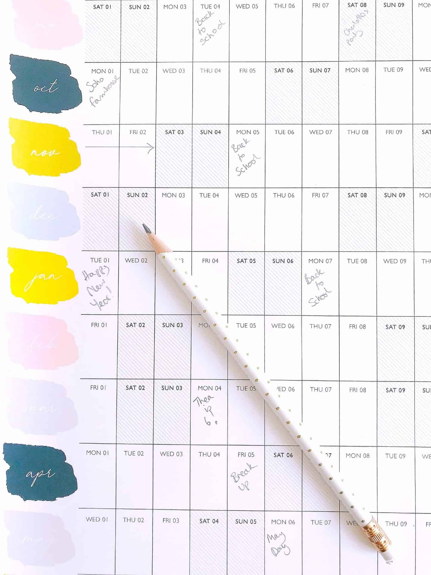 Pastel and monochrome wall planner