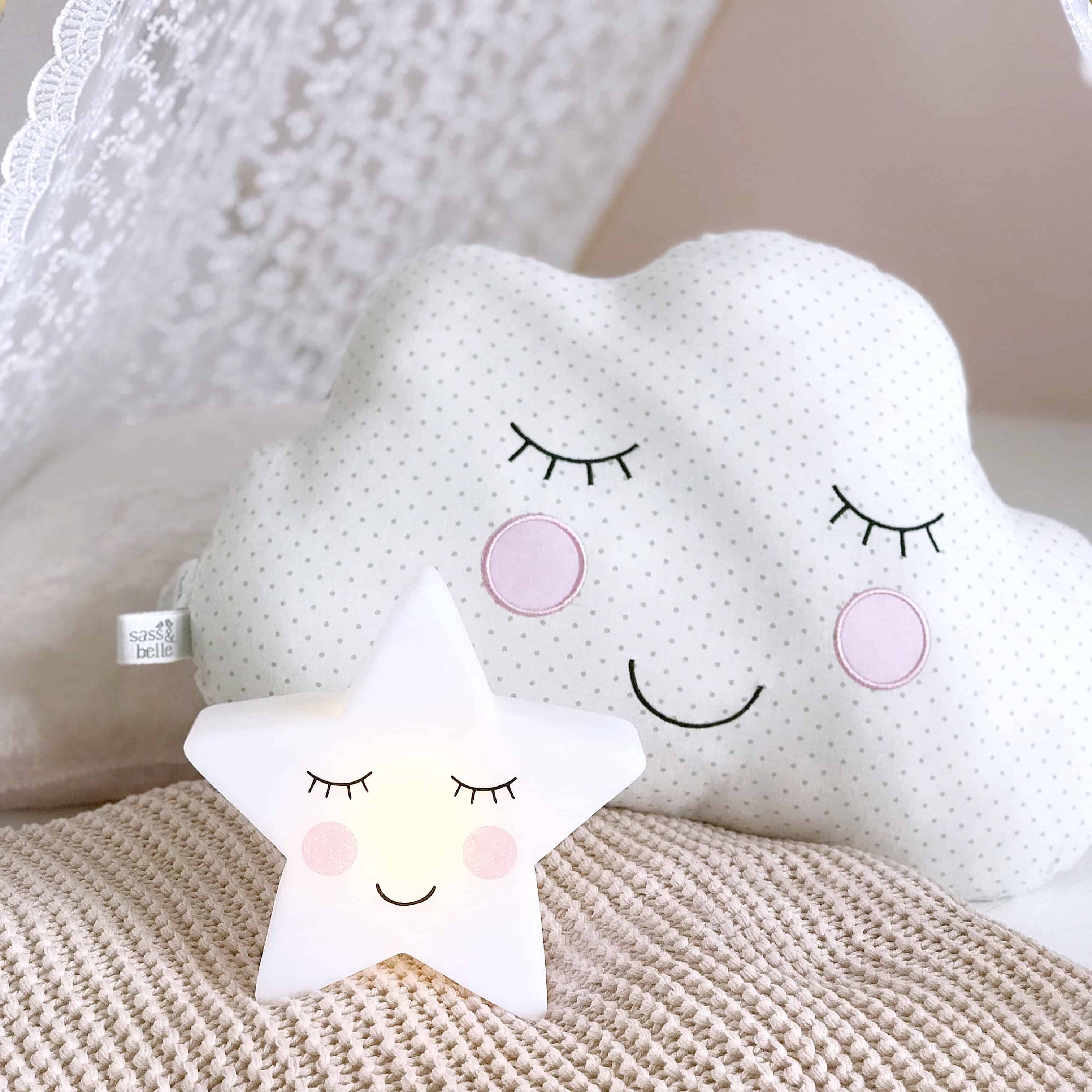 Star night light and cloud cushion