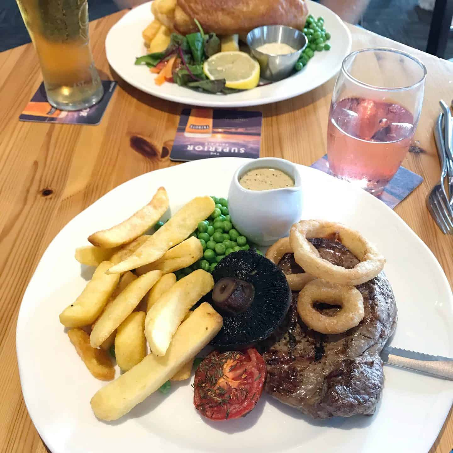 Steak and fish and chips from Woody's at Trevornick, near Newquay, Cornwall