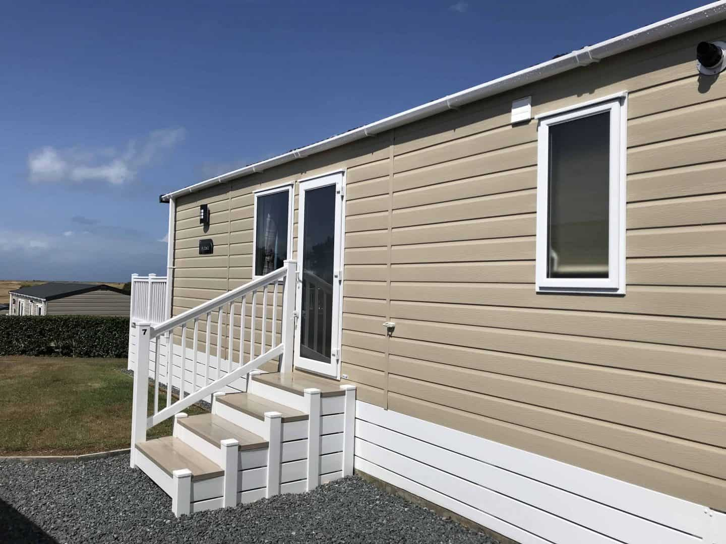 The exterior of our static caravan at Trevornick
