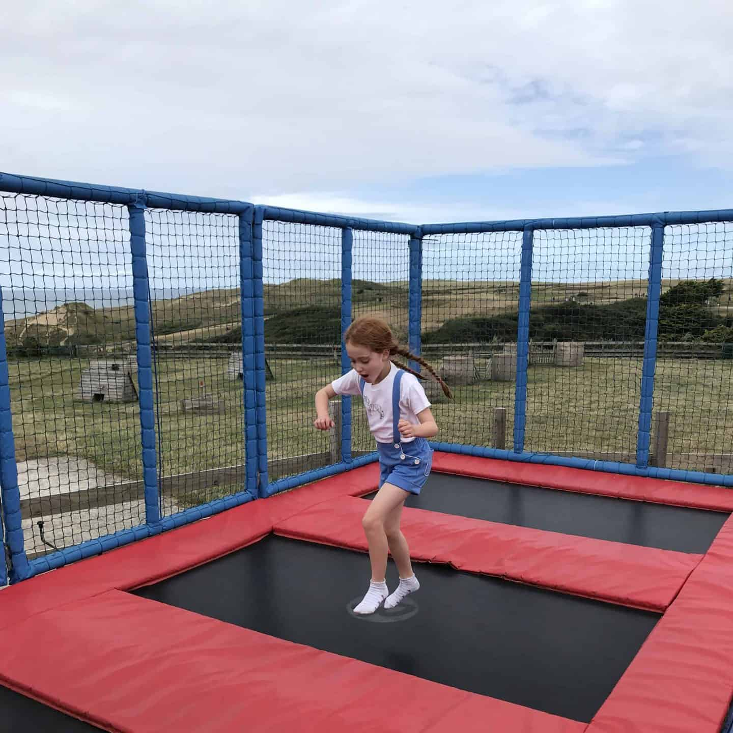 Trampolining at Holywell Bay Fun Park, Cornwall
