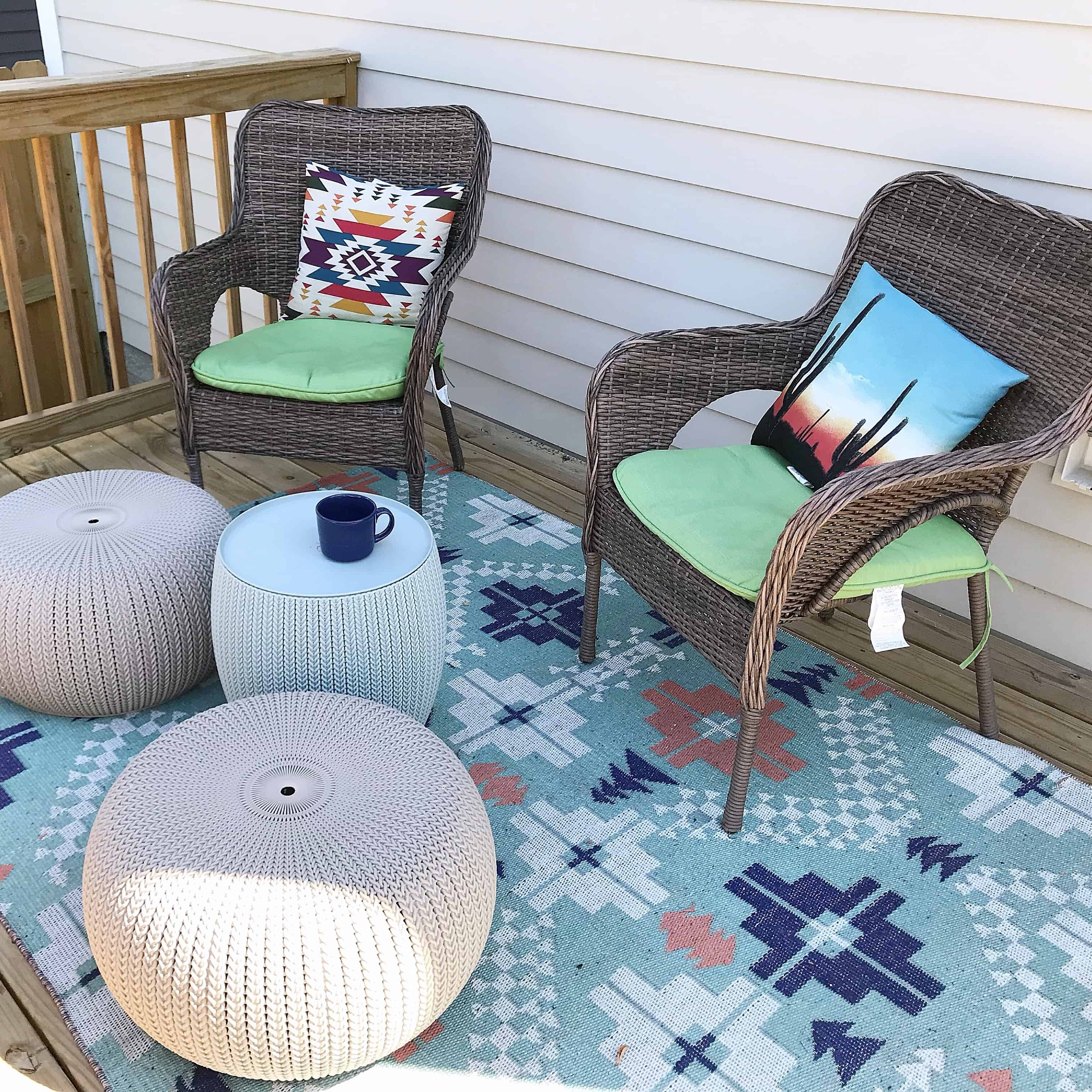 Deck space with comfy chairs