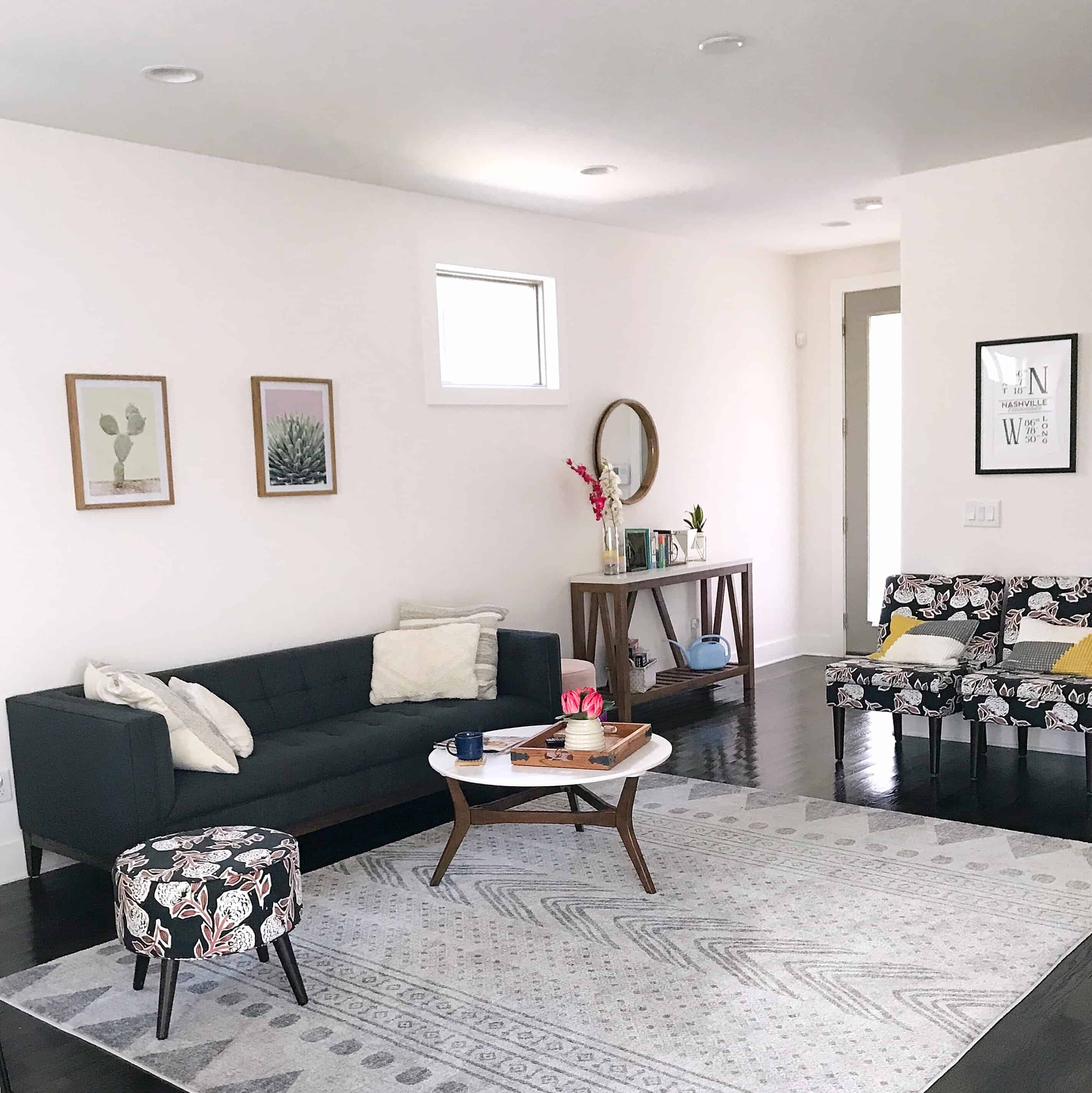 Monochrome lounge at the perfect Air B & B in Nashville