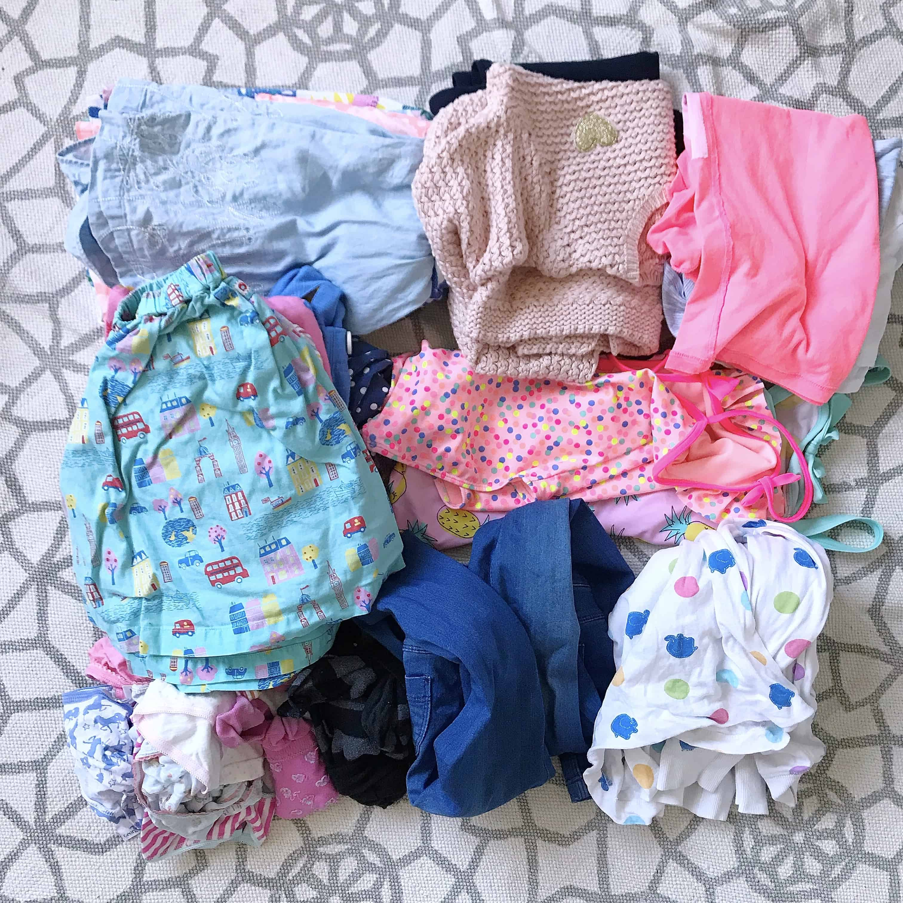 Girls clothes ready to pack