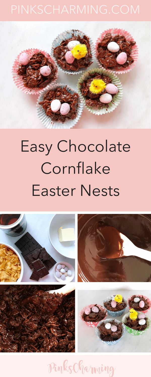 How to make easy 5 ingredient chocolate cornflake Easter Nests that will keep kids and adults very happy this Easter. No baking needed!