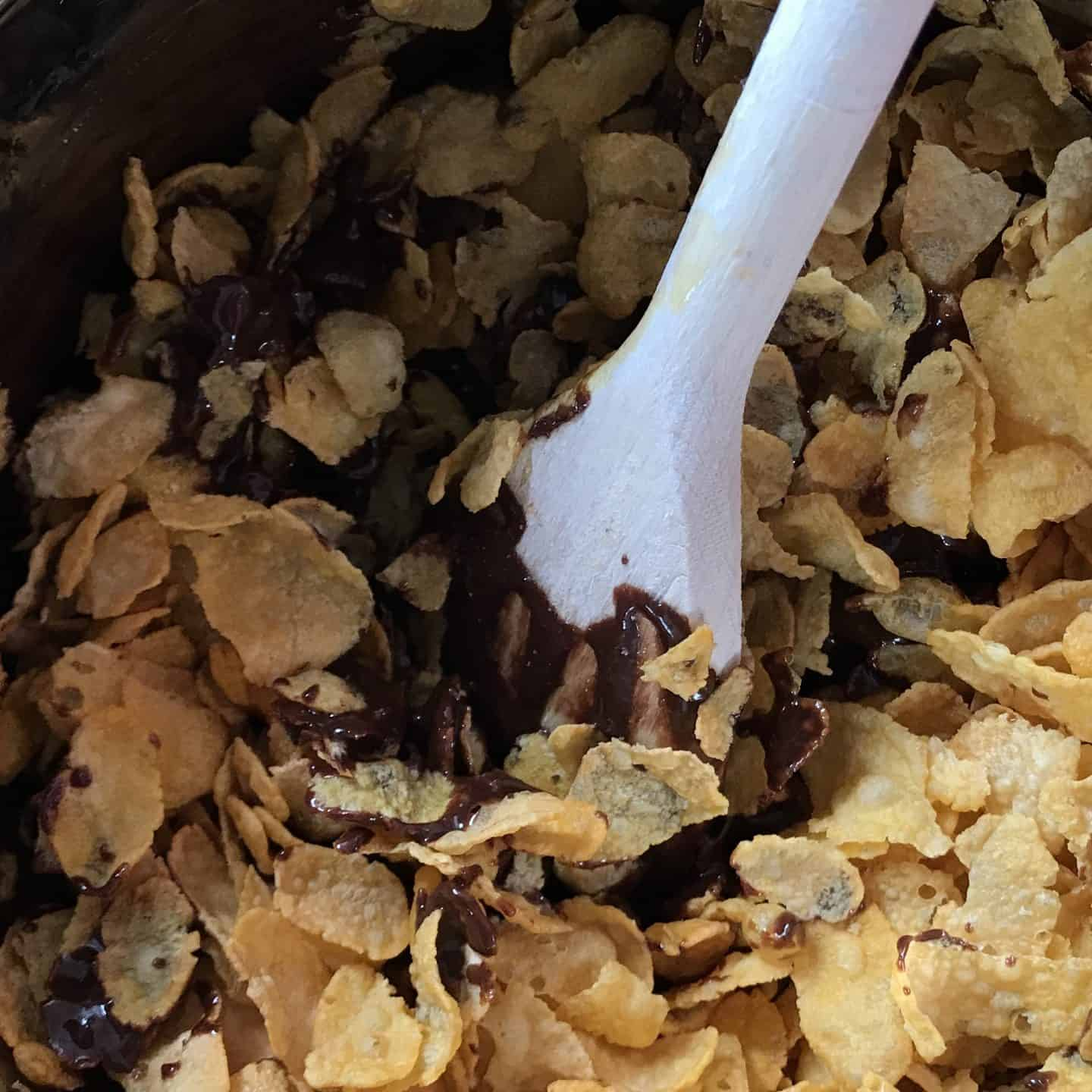 Mix cornflakes into the chocolate mix