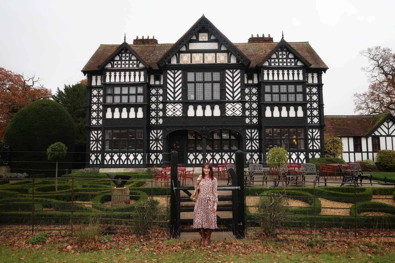 Becky Pink standing outside Paris House, Woburn, Bedfordshire