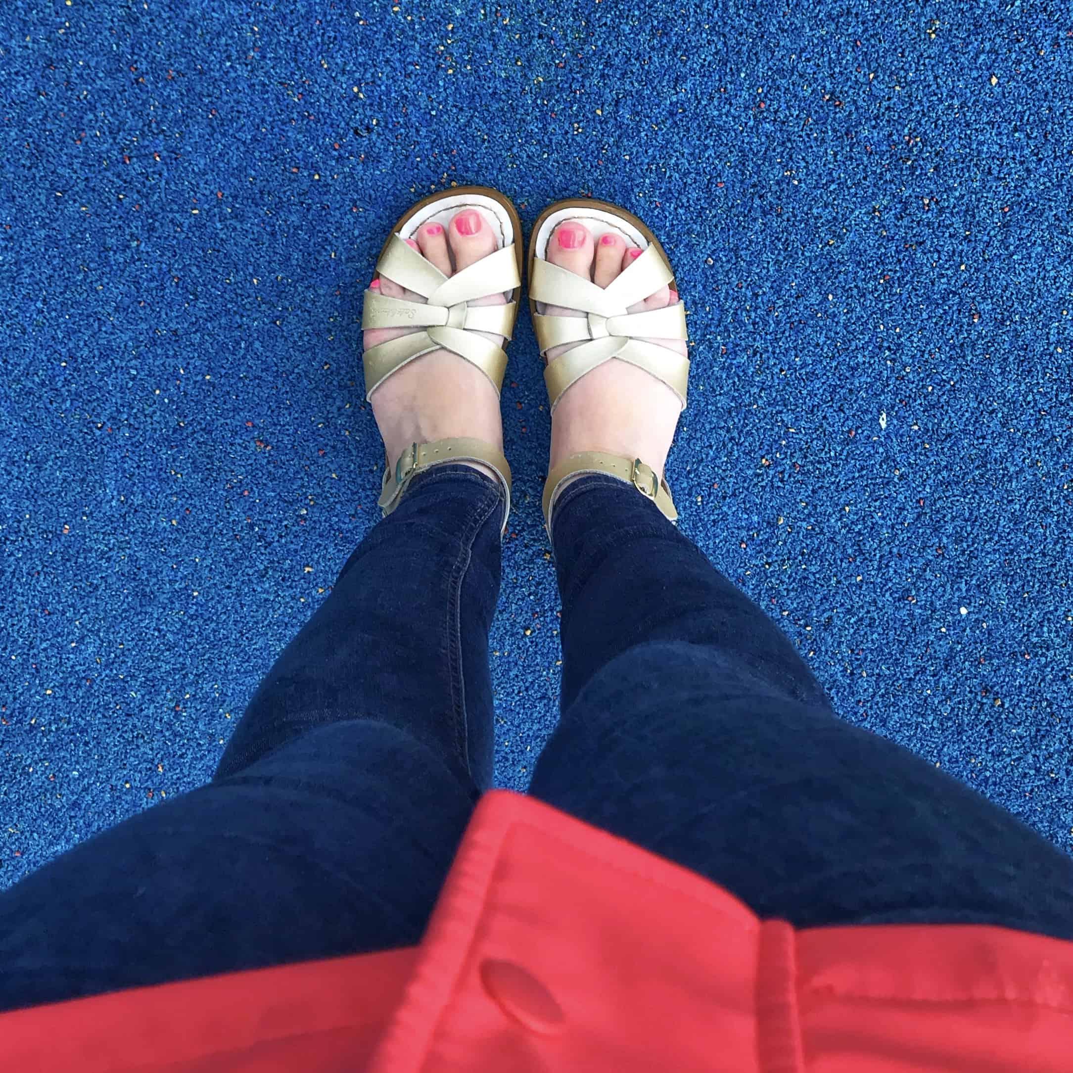 Gold Original Salt-Water Sandals in the rain