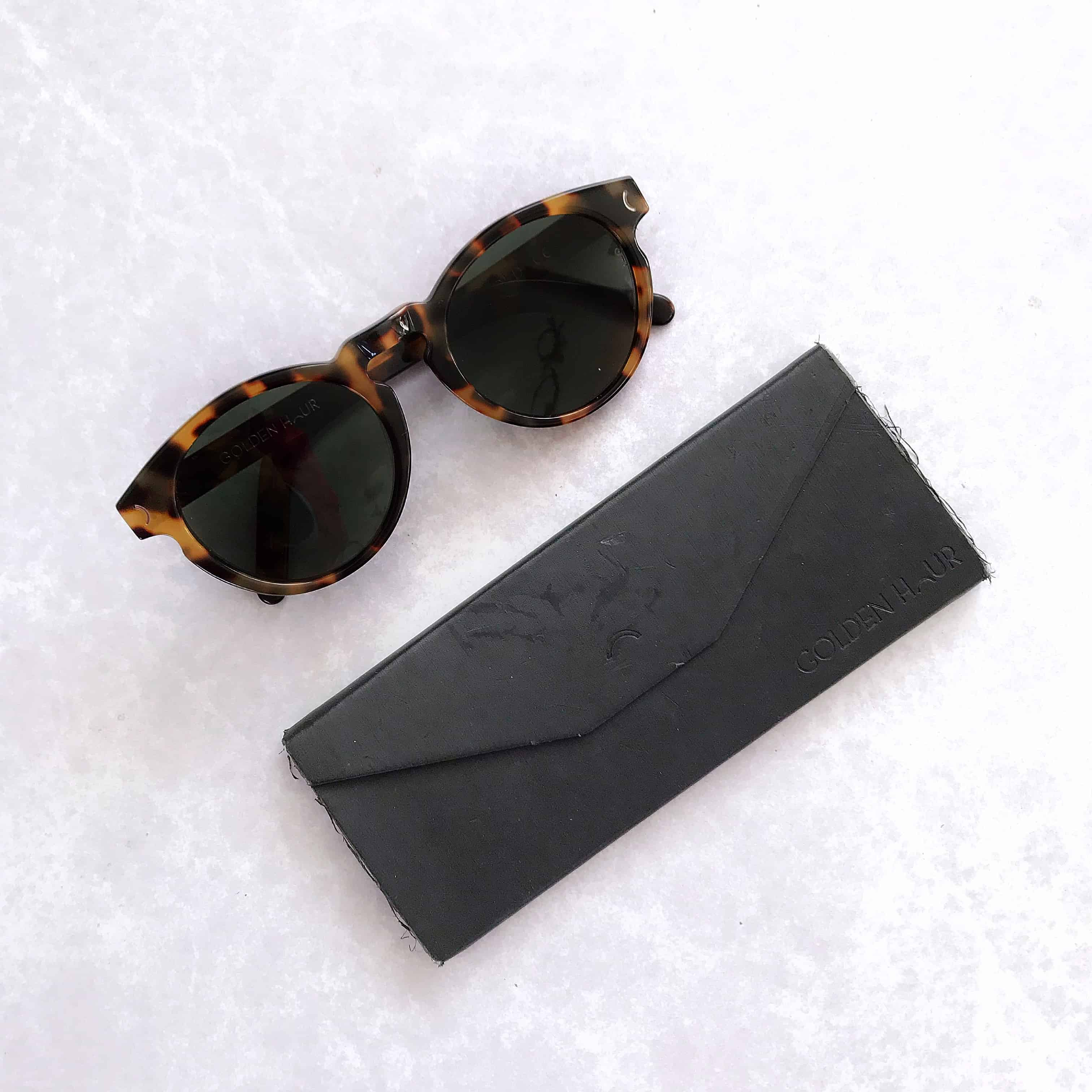 Golden Vision sunglasses with flat pack case to help you travel light