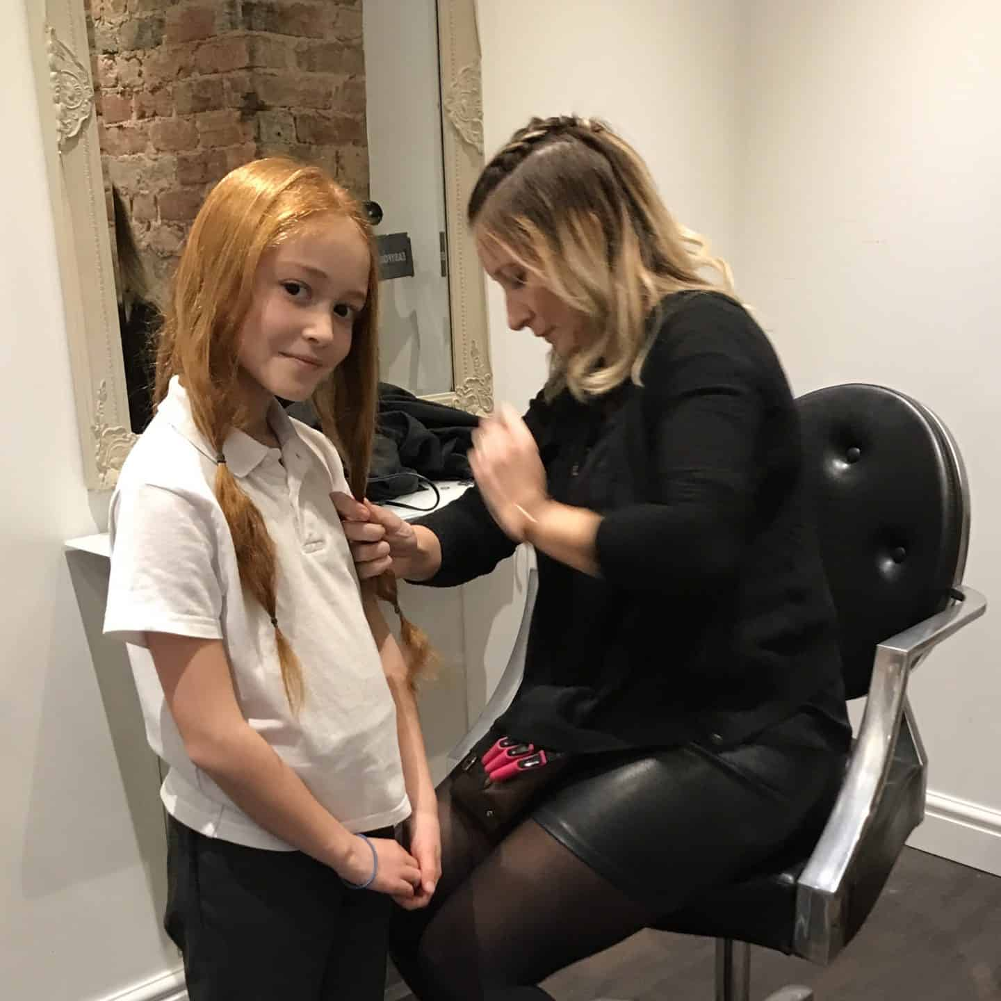 Ava about to get her hair cut to donate to the Little Princess Trust