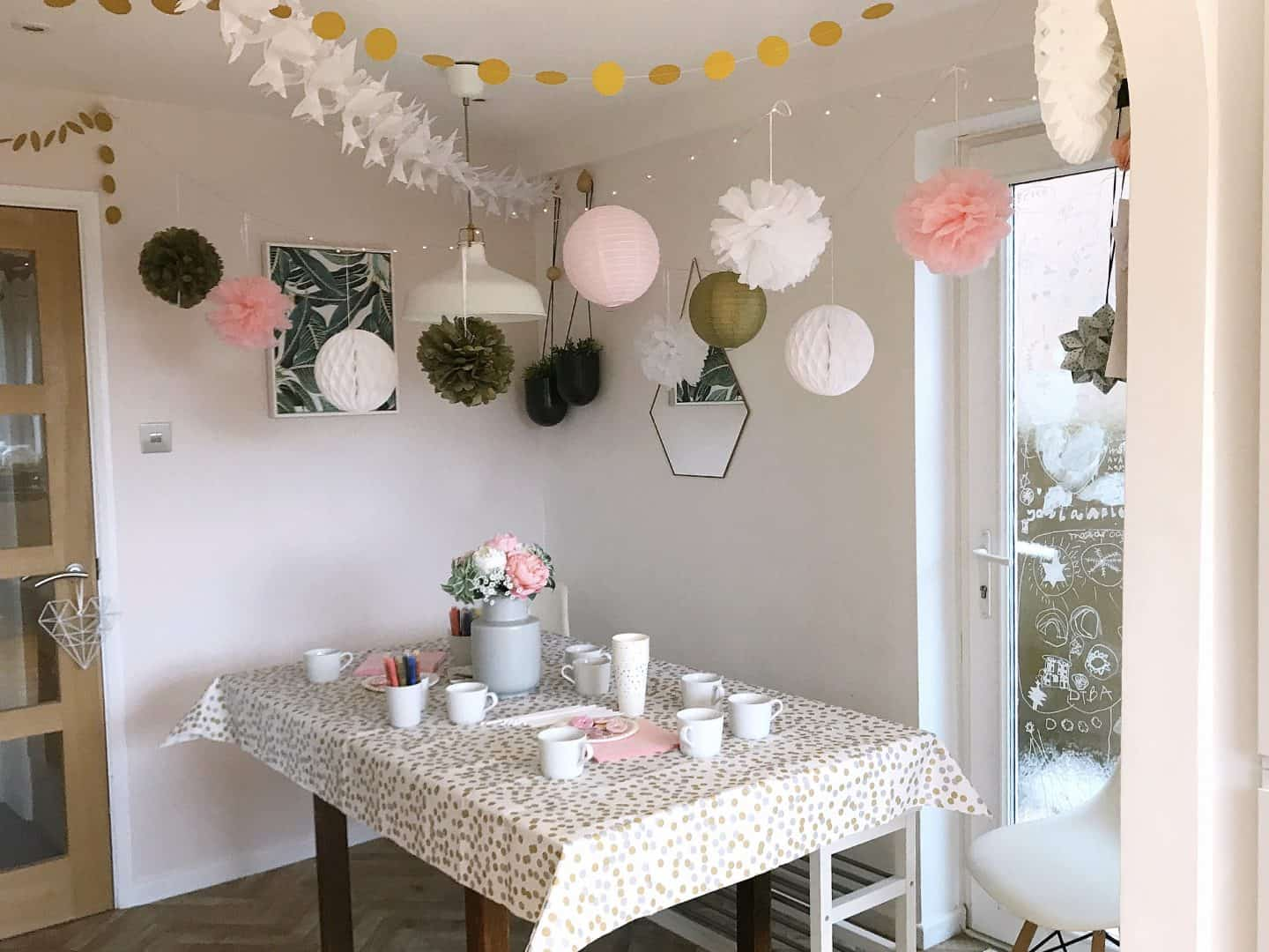 Dining room decorated for a mug decorating party