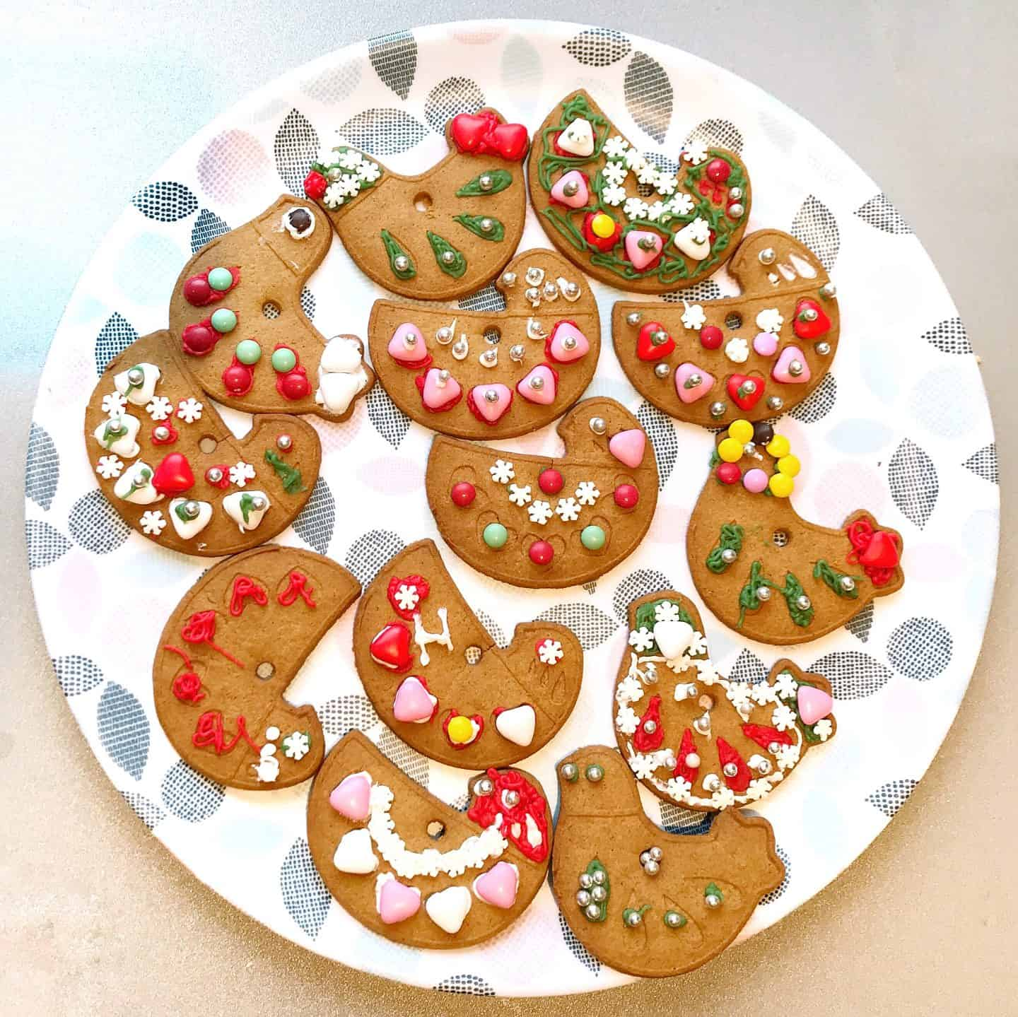 Ikea gingerbread biscuits decorated by kids