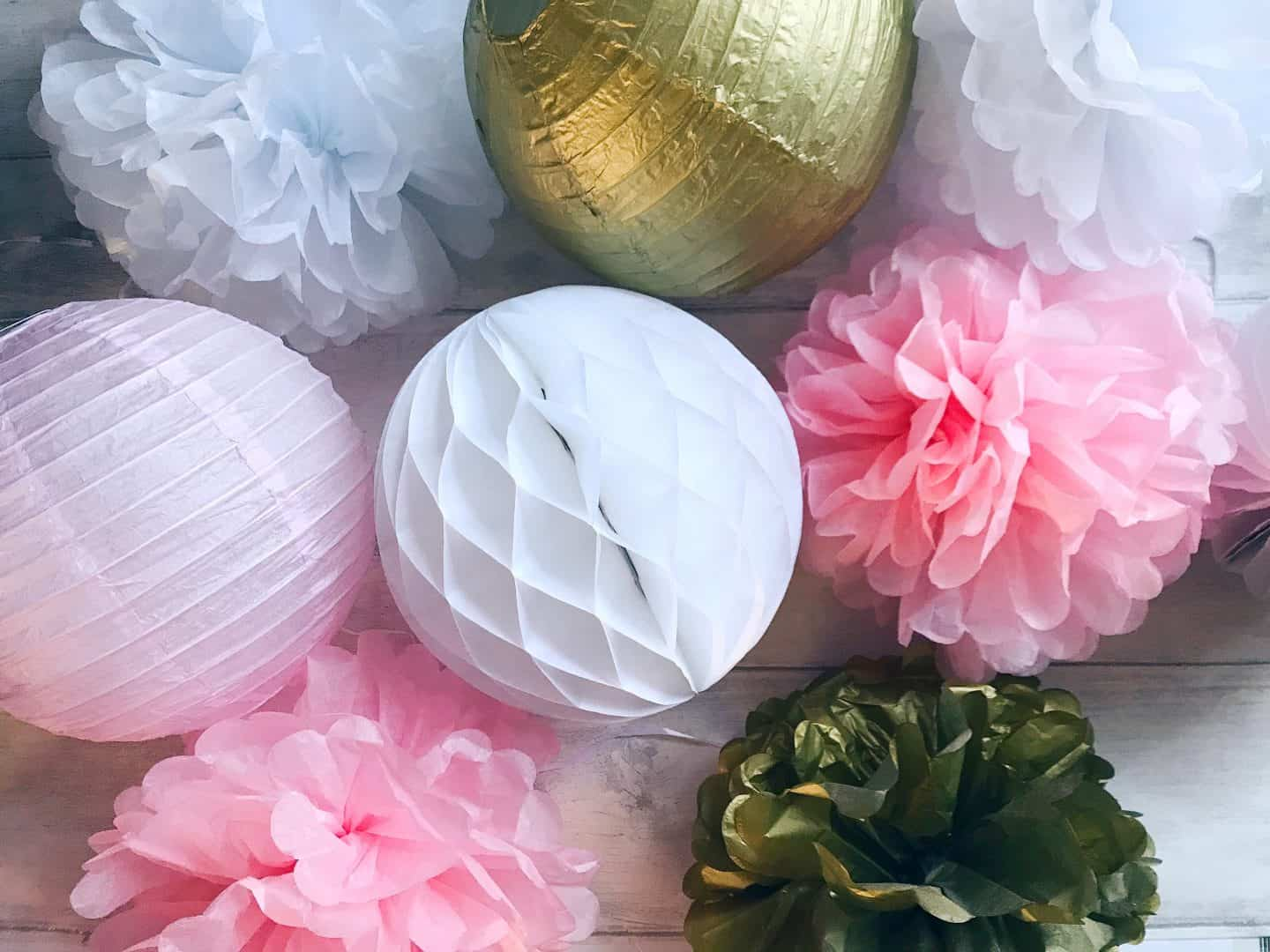 White, pink and gold paper party decorations