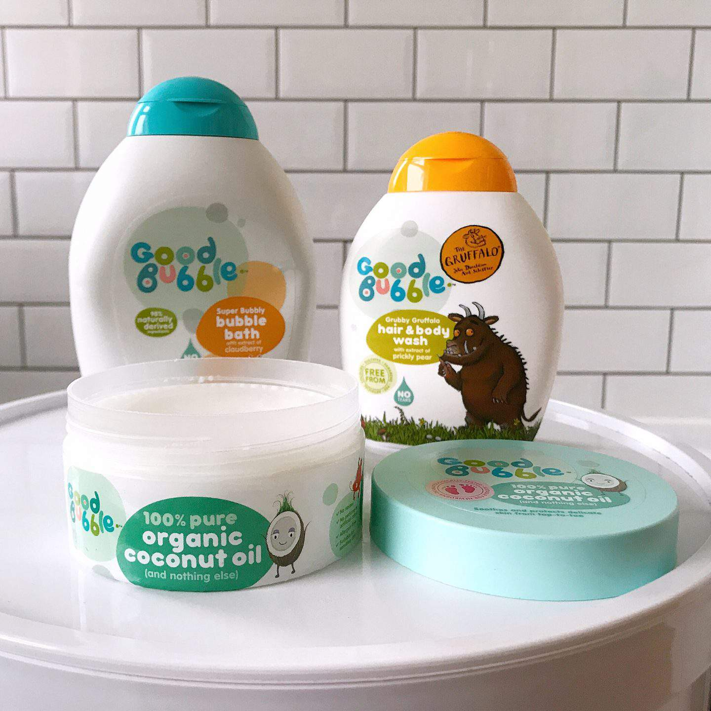 Good Bubble kids clean bubble bath, hair & body wash and organic coconut oil