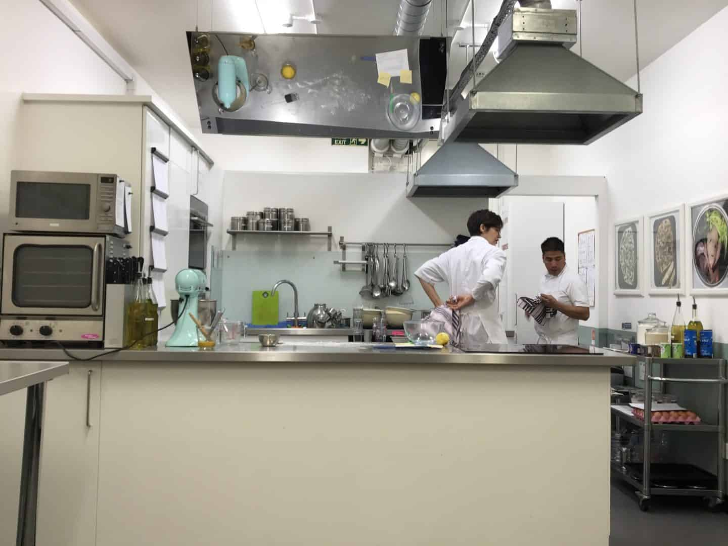 The kitchen at Cookery School, at Little Portland Street, London
