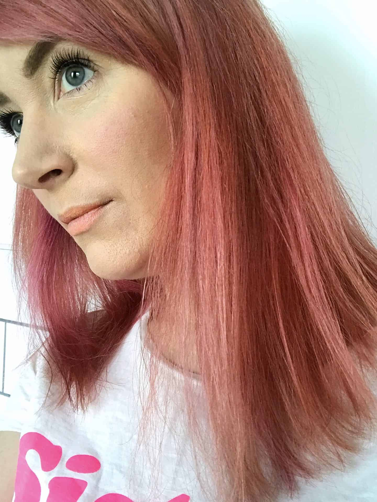 Hair after leaving Infuse My. colour Ruby Shampoo on dry hair for 30 minutes