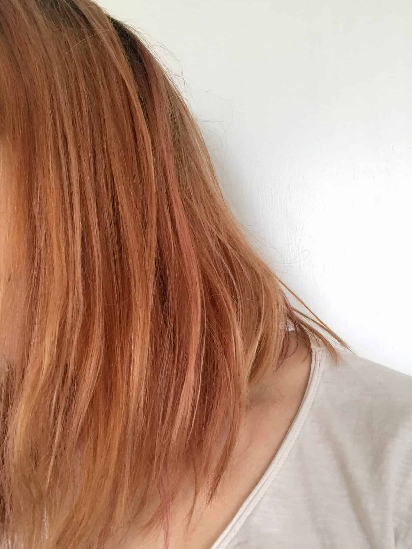 Highlighted hair before using infuse My. colour Ruby Shampoo